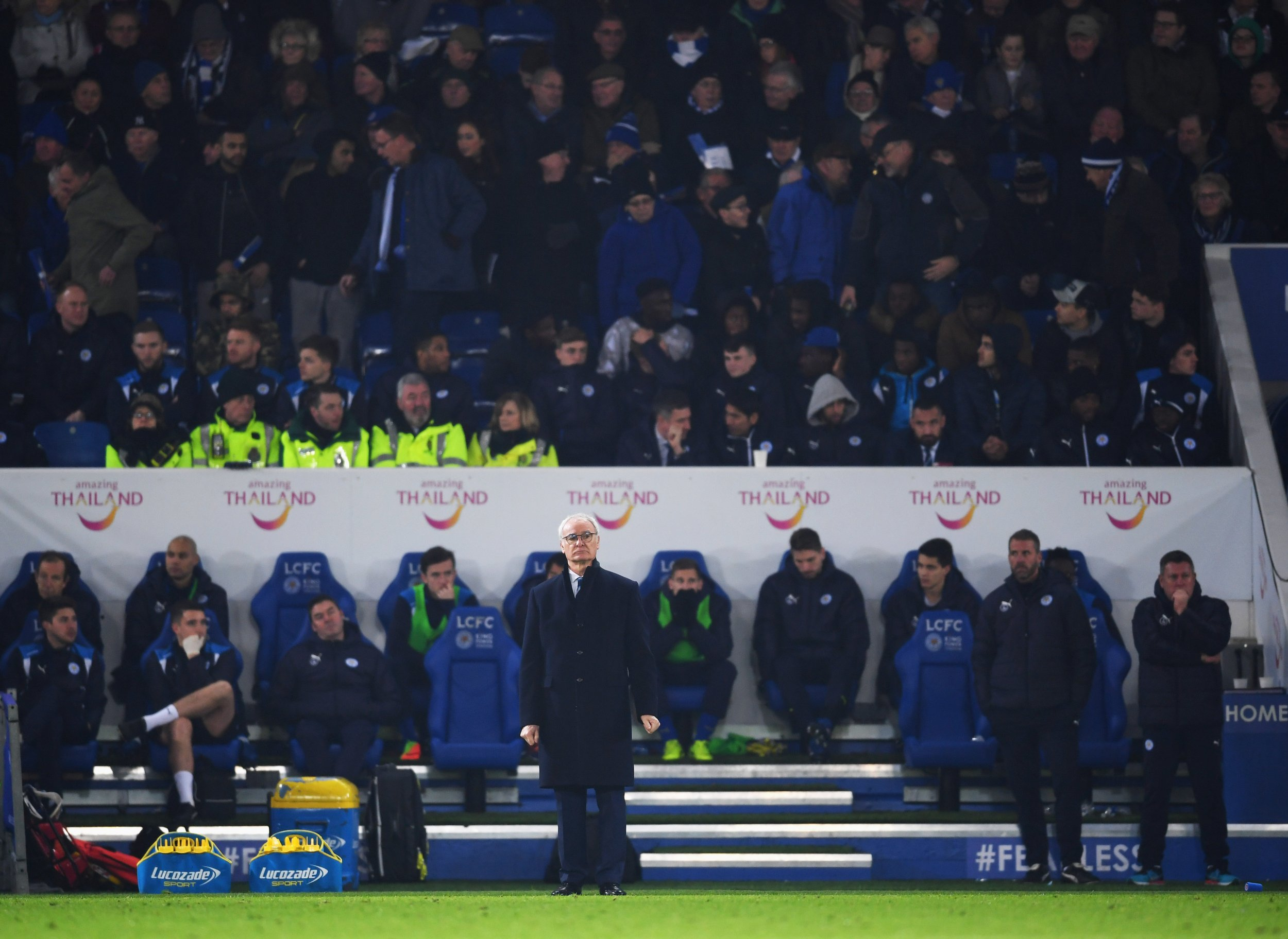 Leicester City manager Claudio Ranieri, front center.