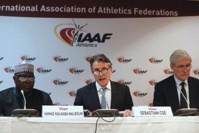 IAAF president Sebastian Coe, center.