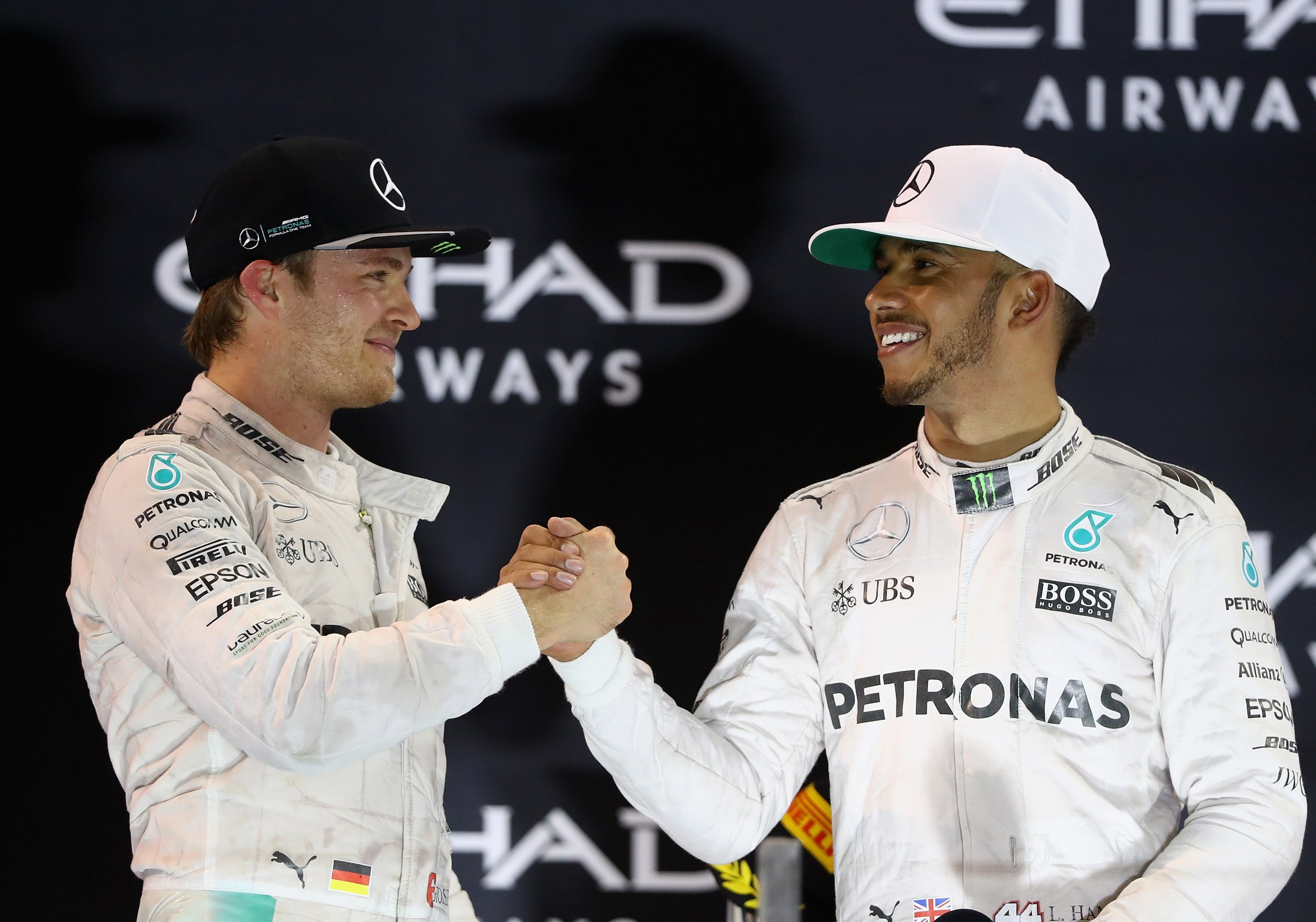 Former Mercedes team mates Lewis Hamilton, right, and Nico Rosberg.