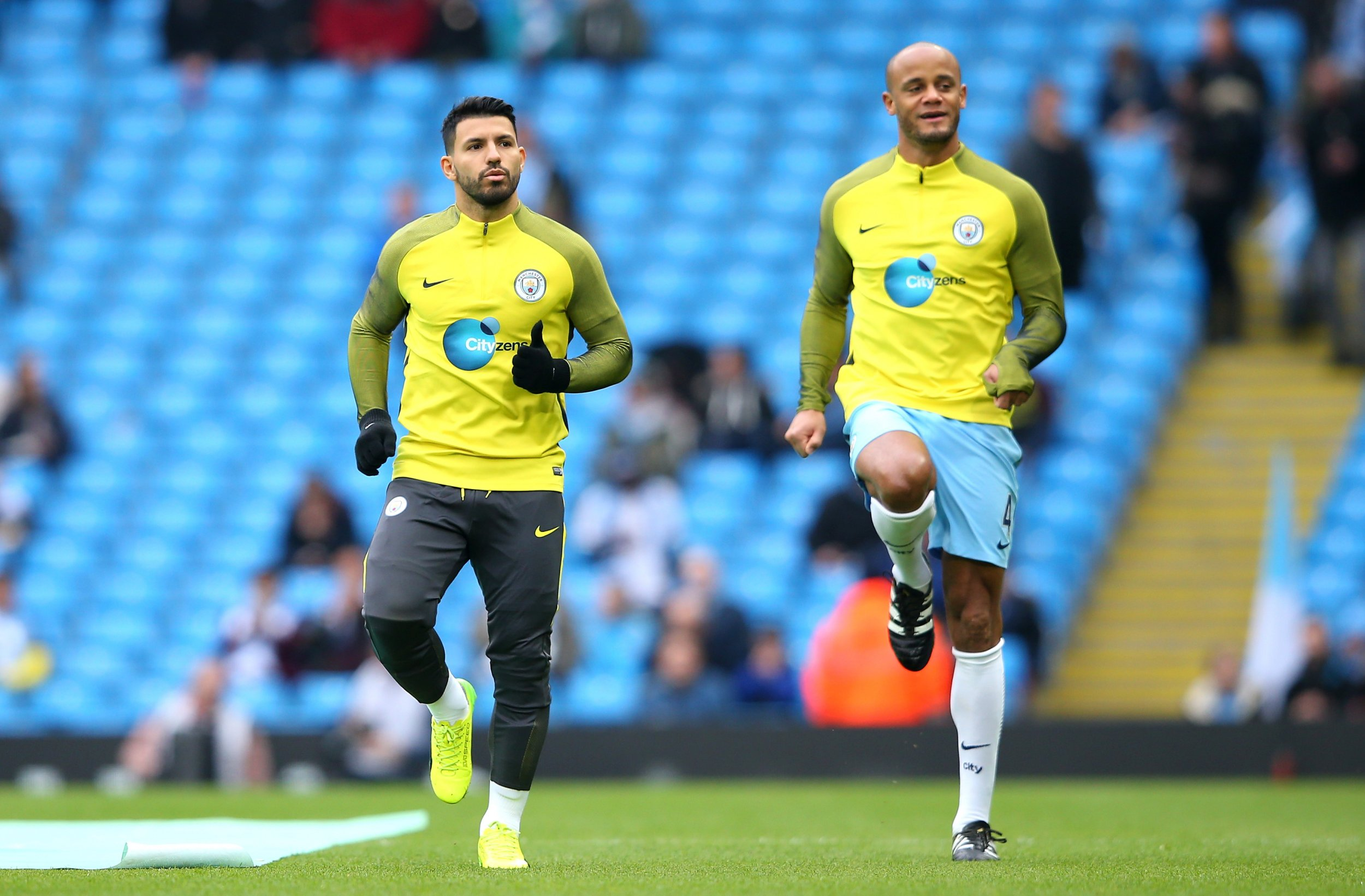 Manchester City striker Sergio Aguero, left.