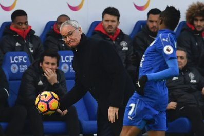 Leicester City manager Claudio Ranieri, left, with Ahmed Musa.