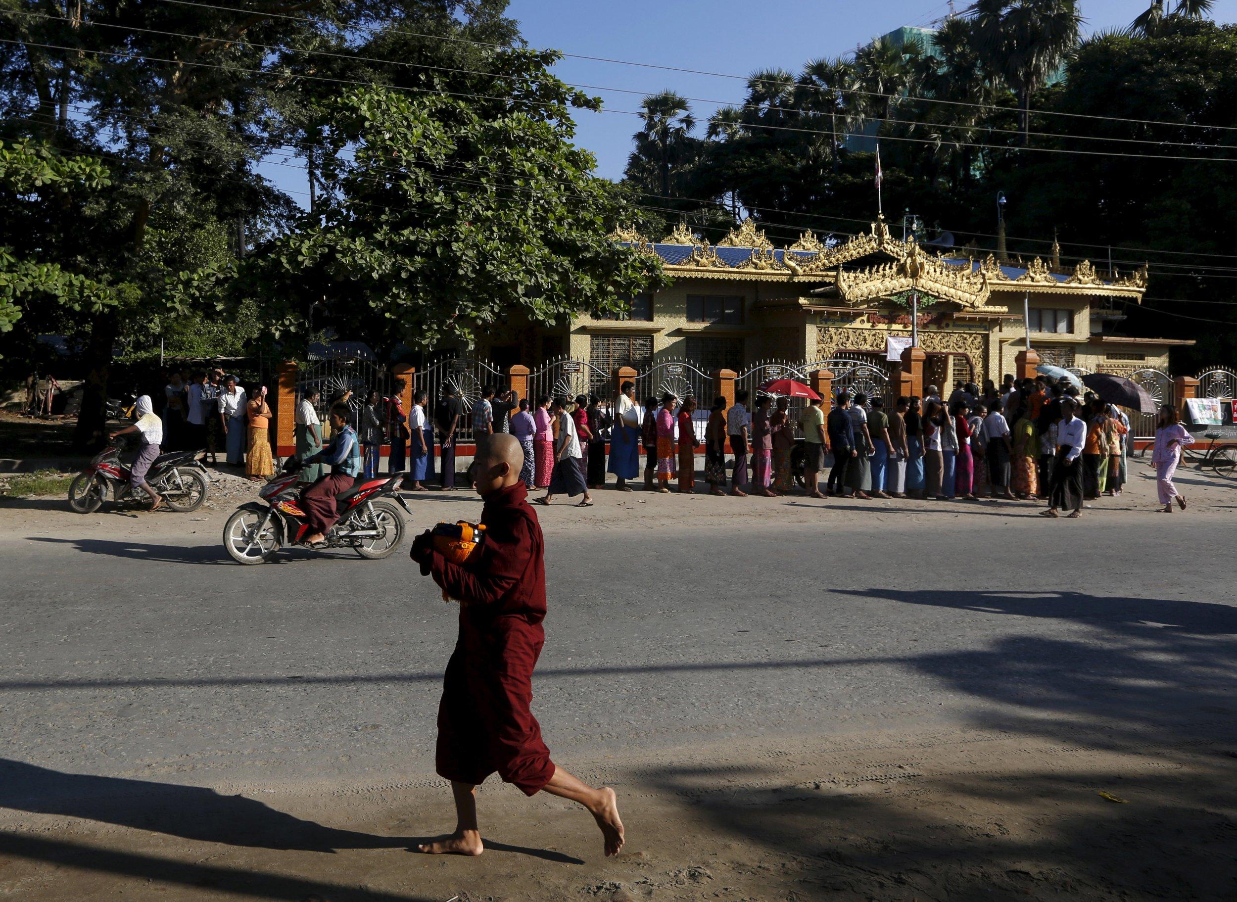 Buddhist monk walking in Myanmar