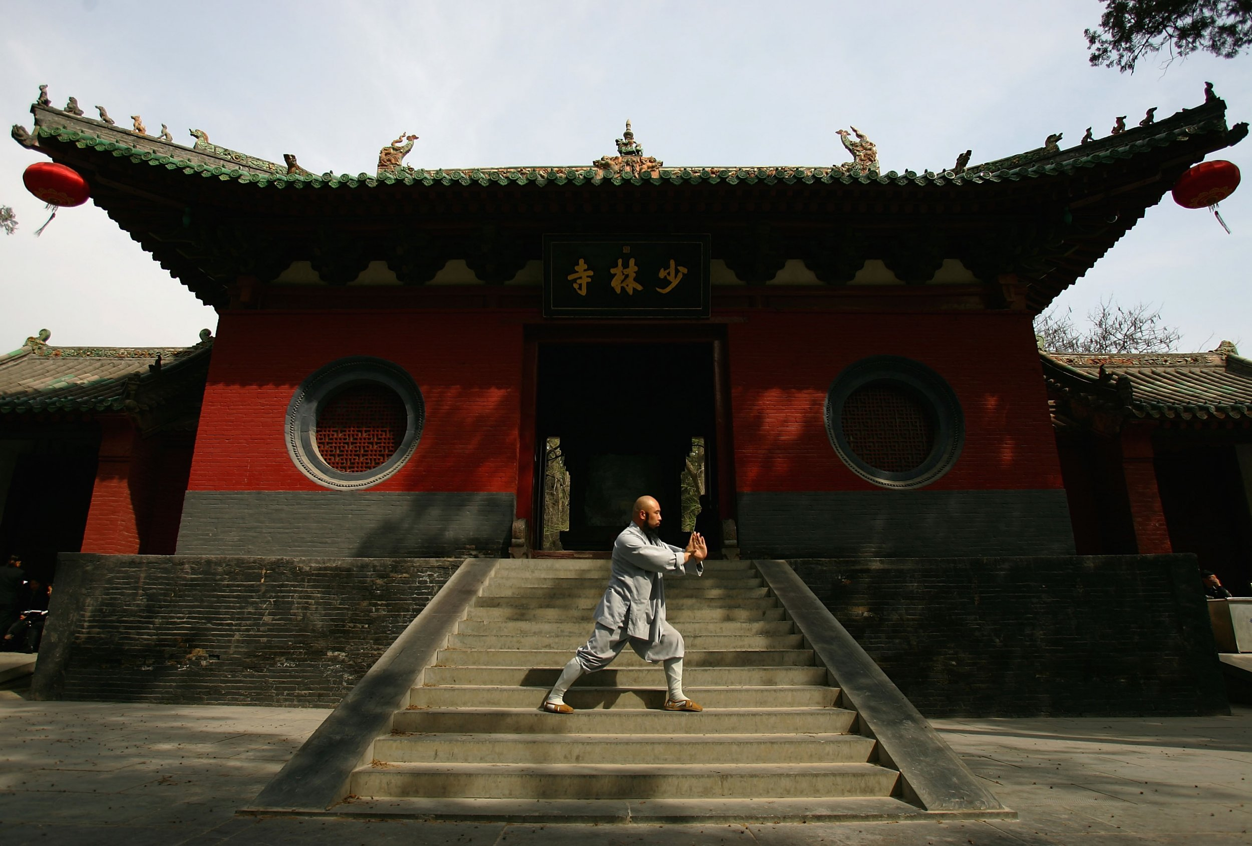 A monk practises outside the Shaolin temple
