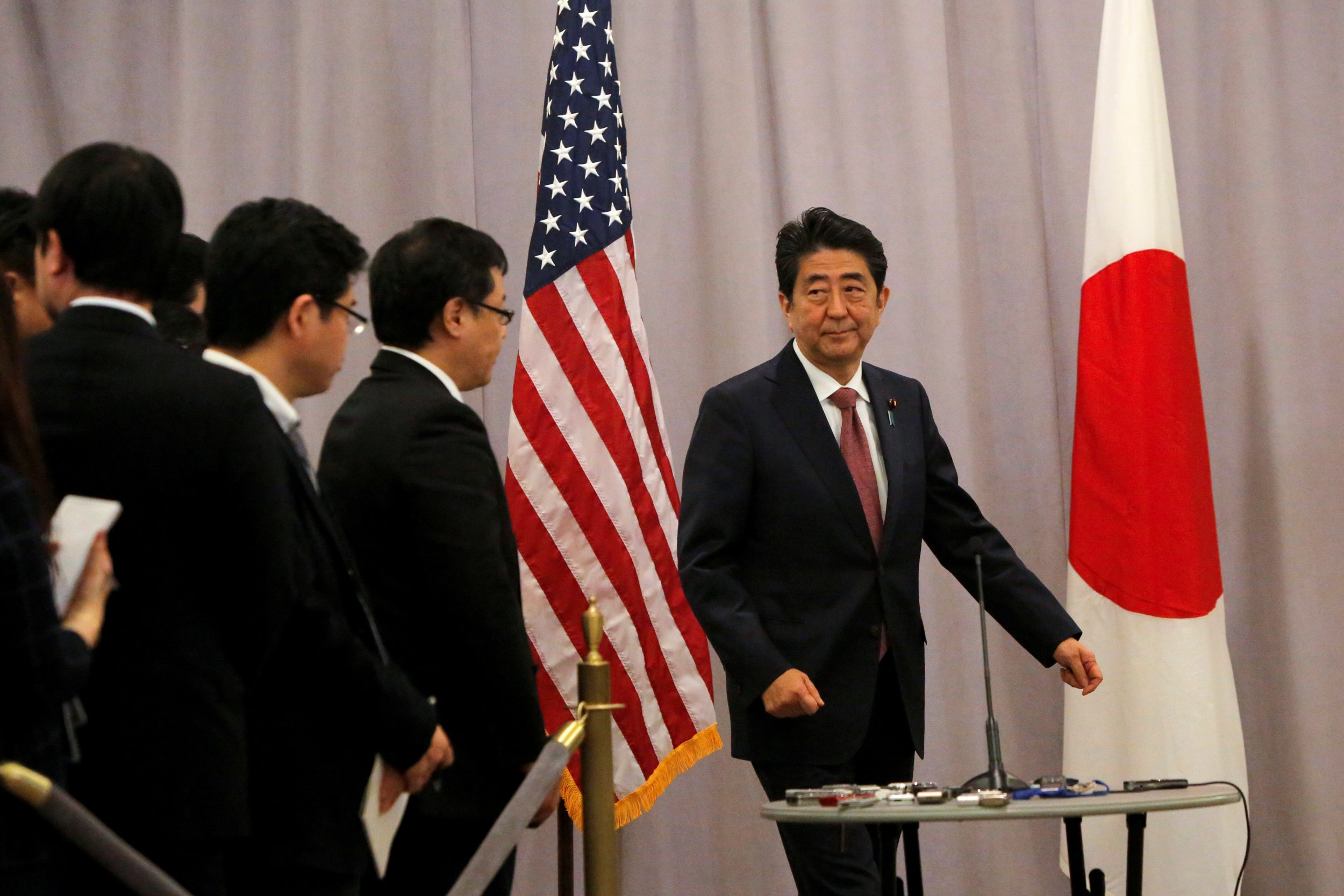 Abe speaks to reporters after meeting Trump