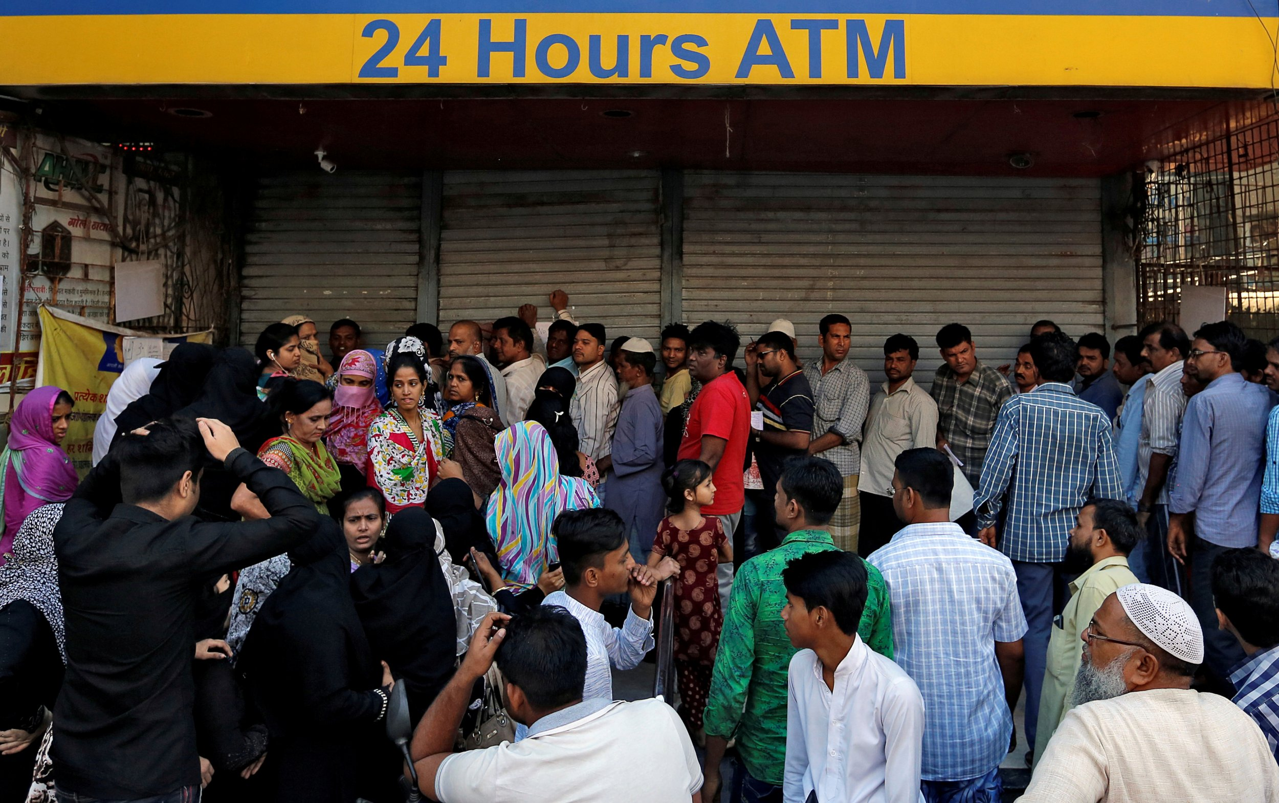 Queues outside Indian bank