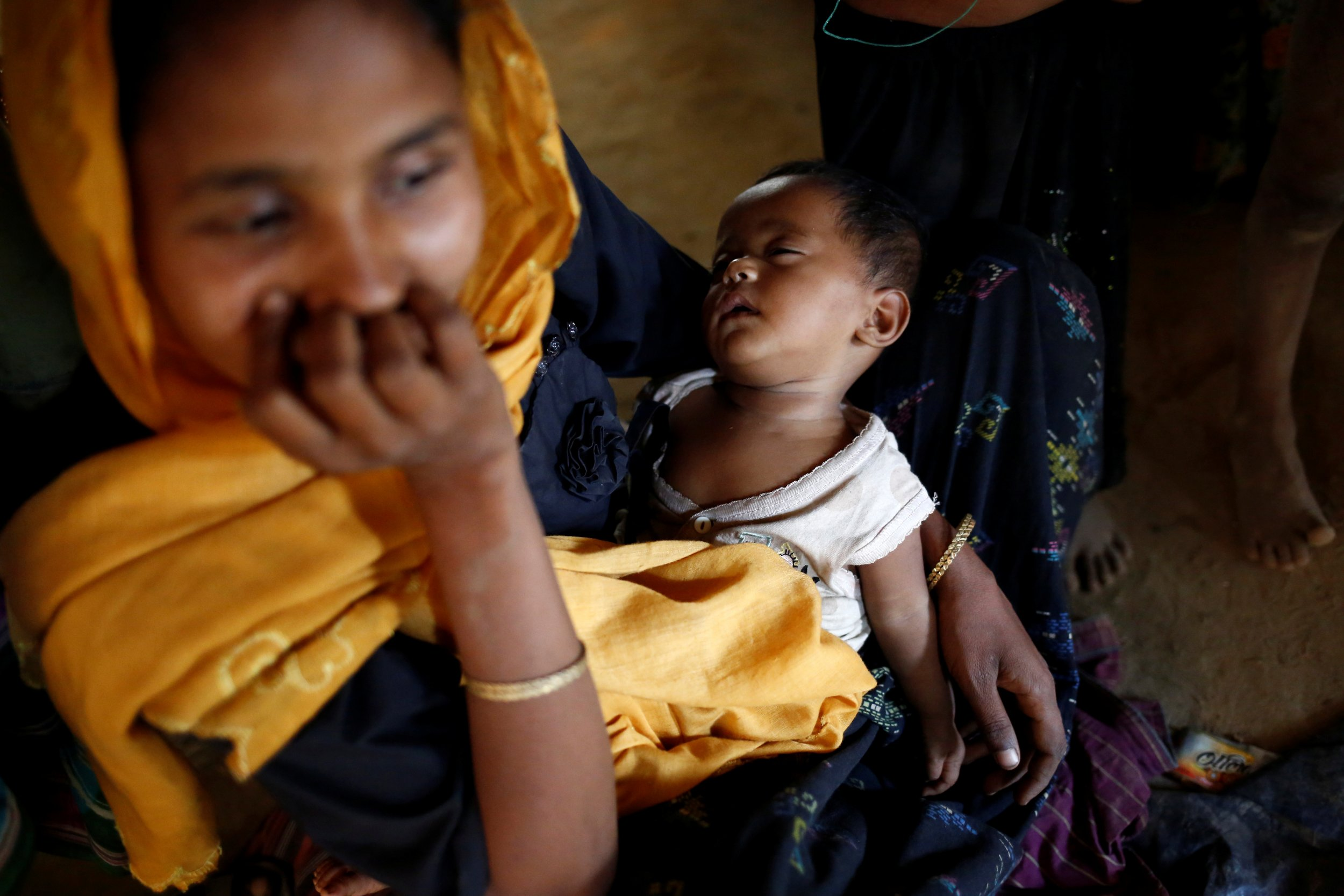 Rohingya child sleeping