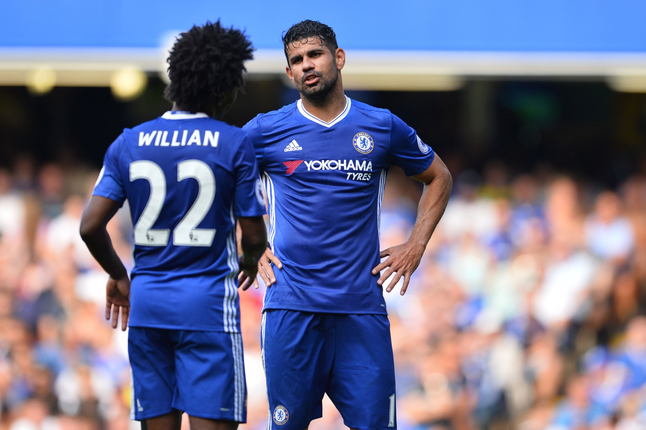 Chelsea teammates Willian, left, and Diego Costa.