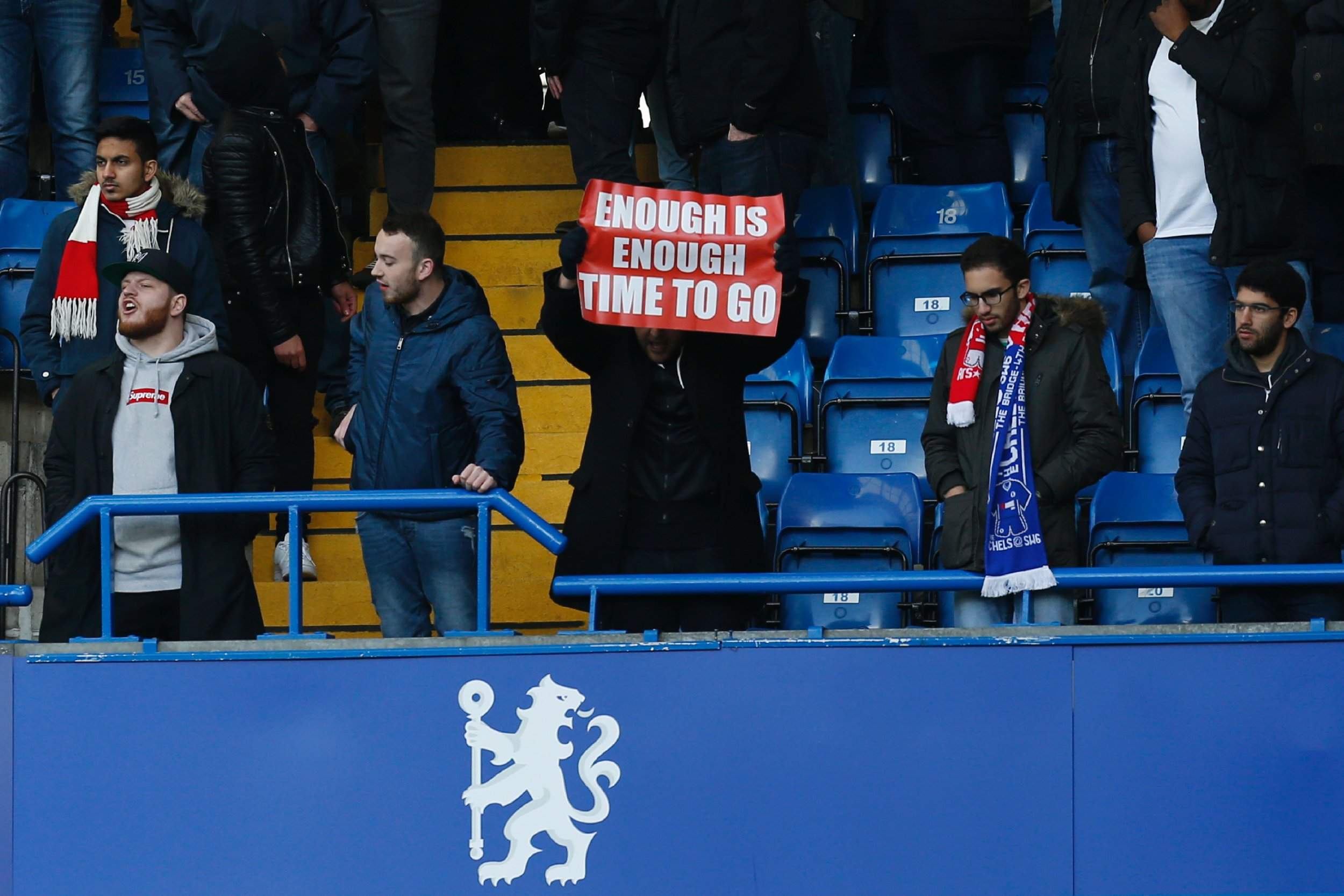 Arsenal supporters protest at Stamford Bridge, London.