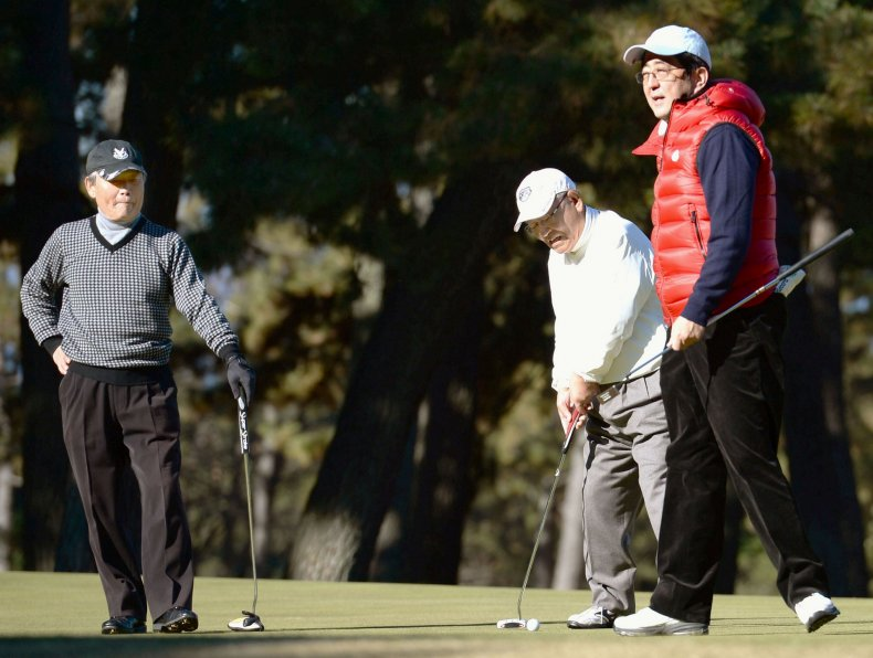 Abe plays golf