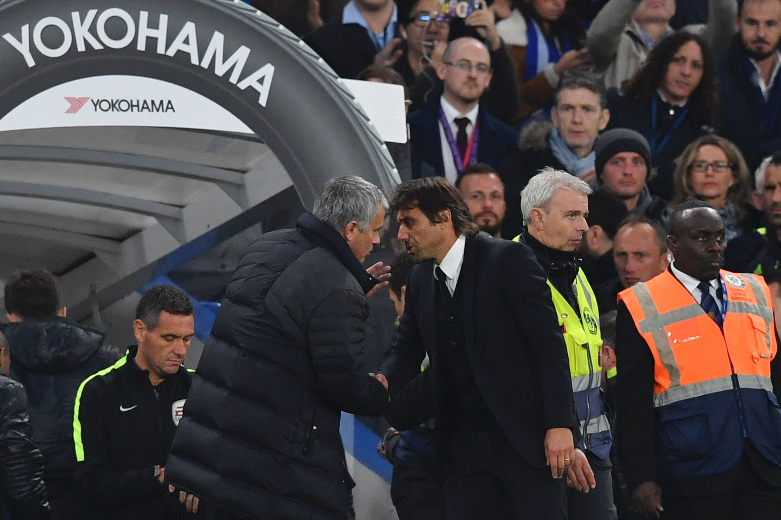 Jose Mourinho, center left, with Antonio Conte.