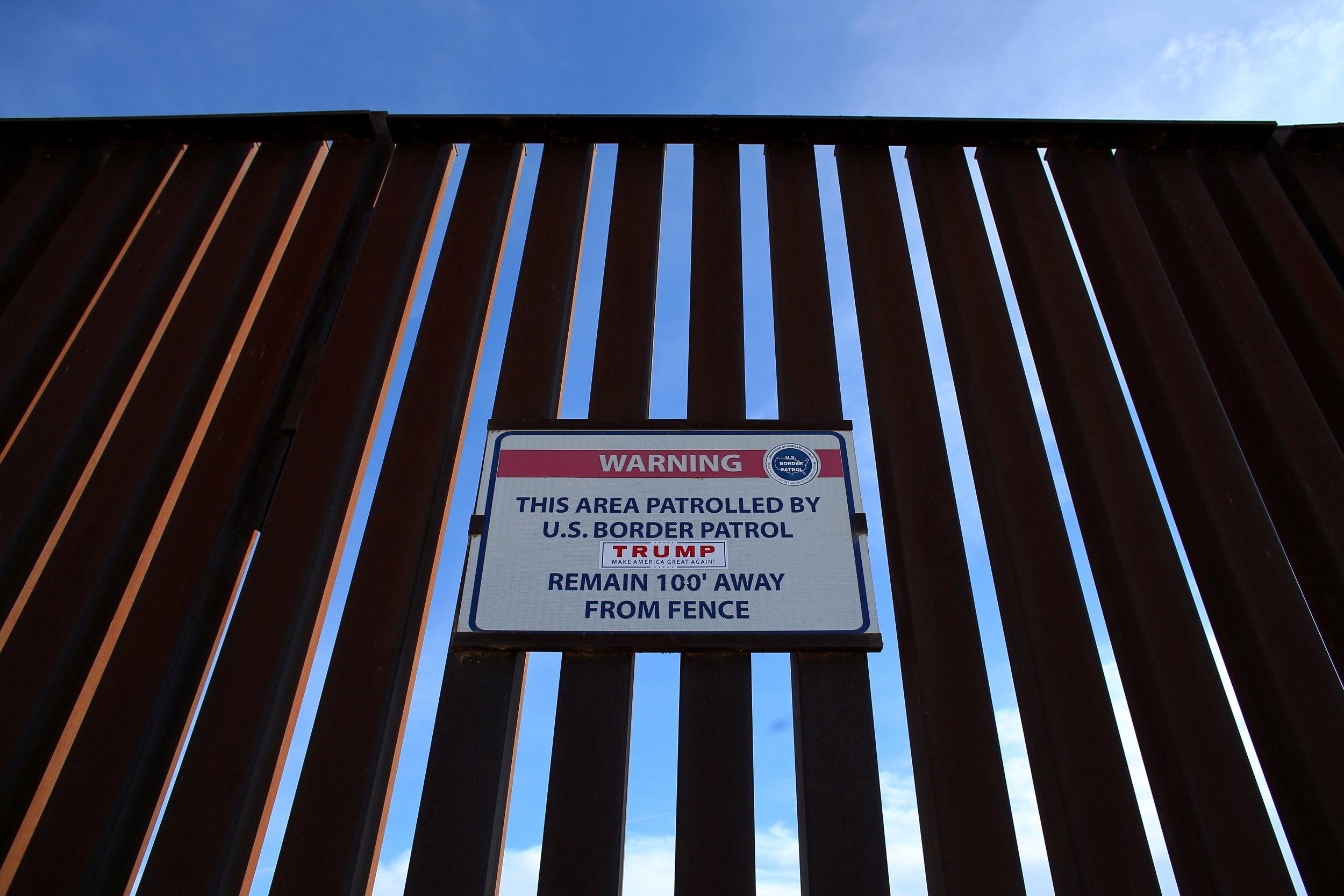 Trump sticker on U.S/Mexico Border