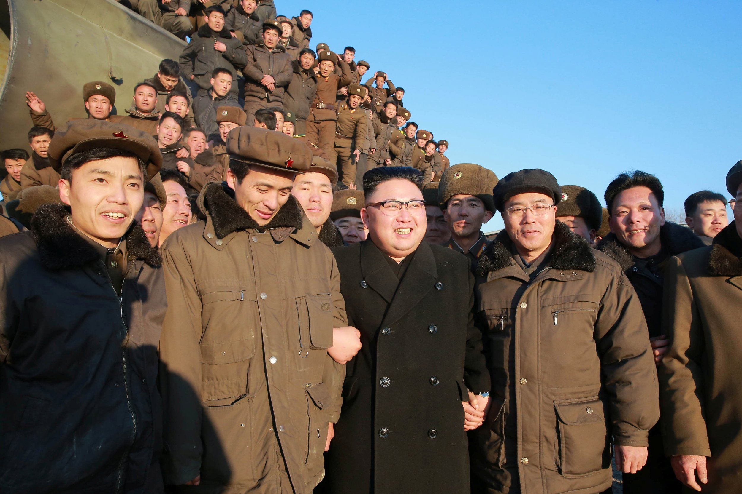 North Koreans watch launch