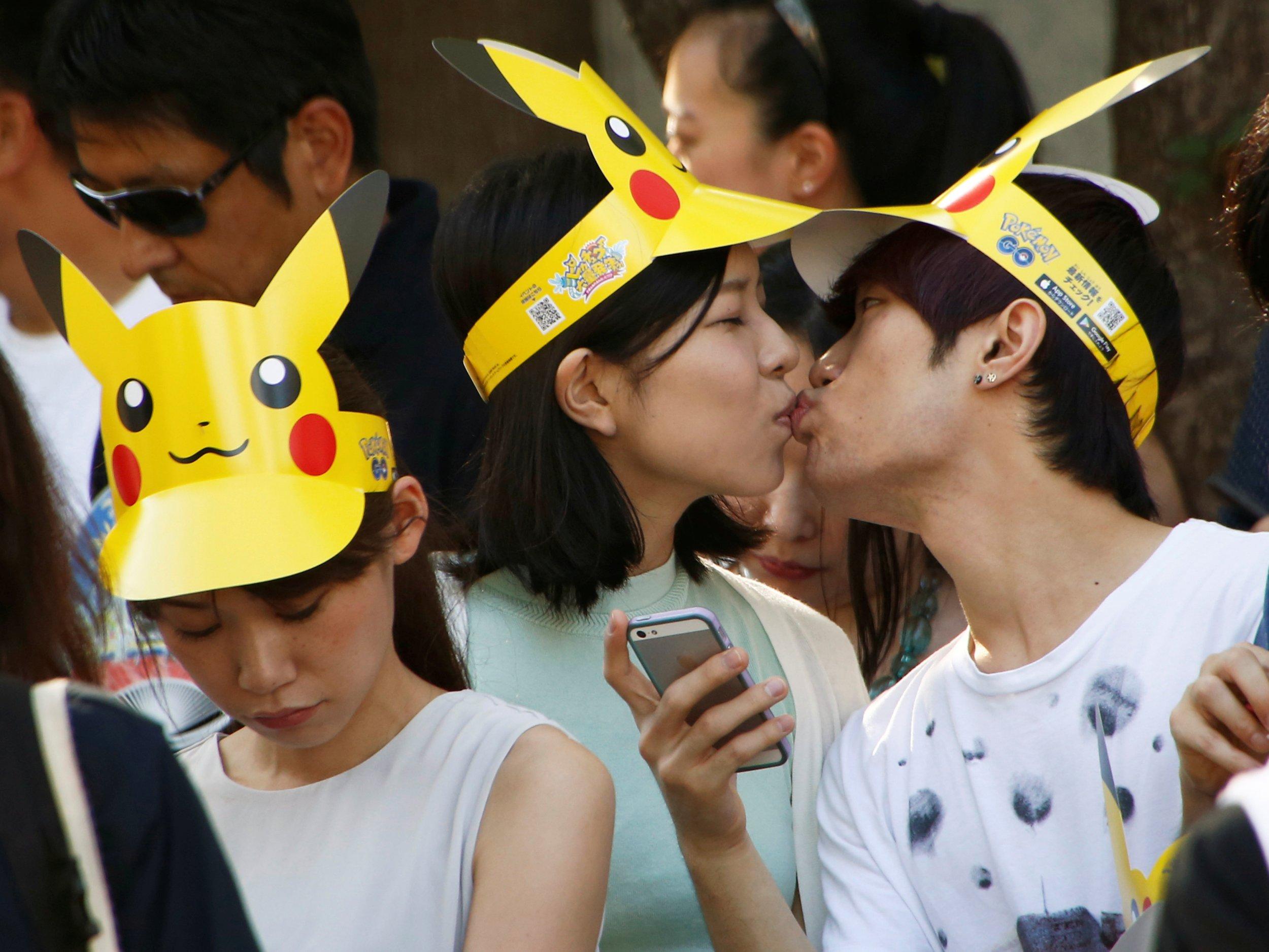 Japanese couple kisses