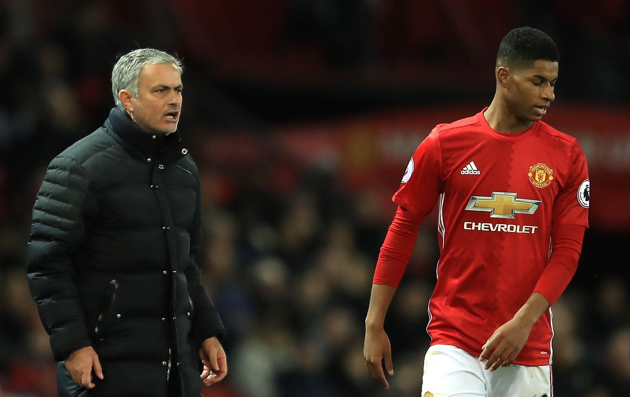 Manchester United manager Jose Mourinho, left, with Marcus Rashford.