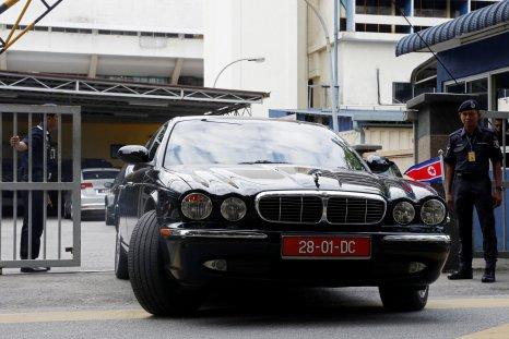 A North Korean car leaves the morgue