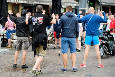 Russian and English football supporters clash in Lille, France, June 14 2016.
