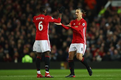 Paul Pogba, left, with Zlatan Ibrahimovic.