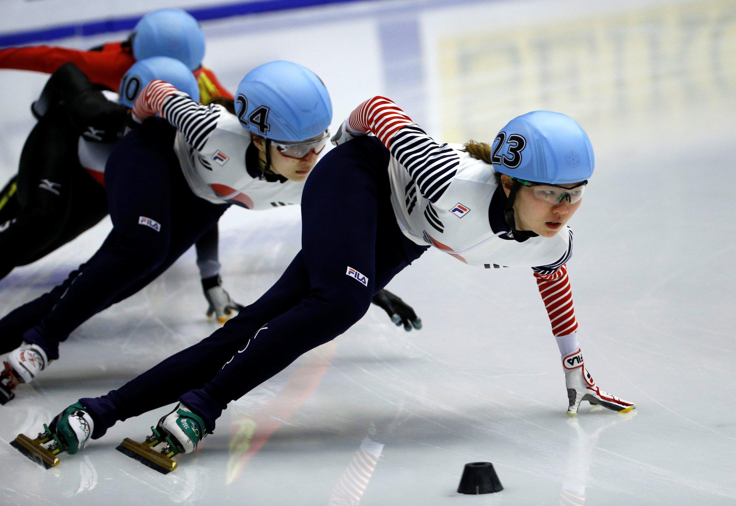 South Korean women skate