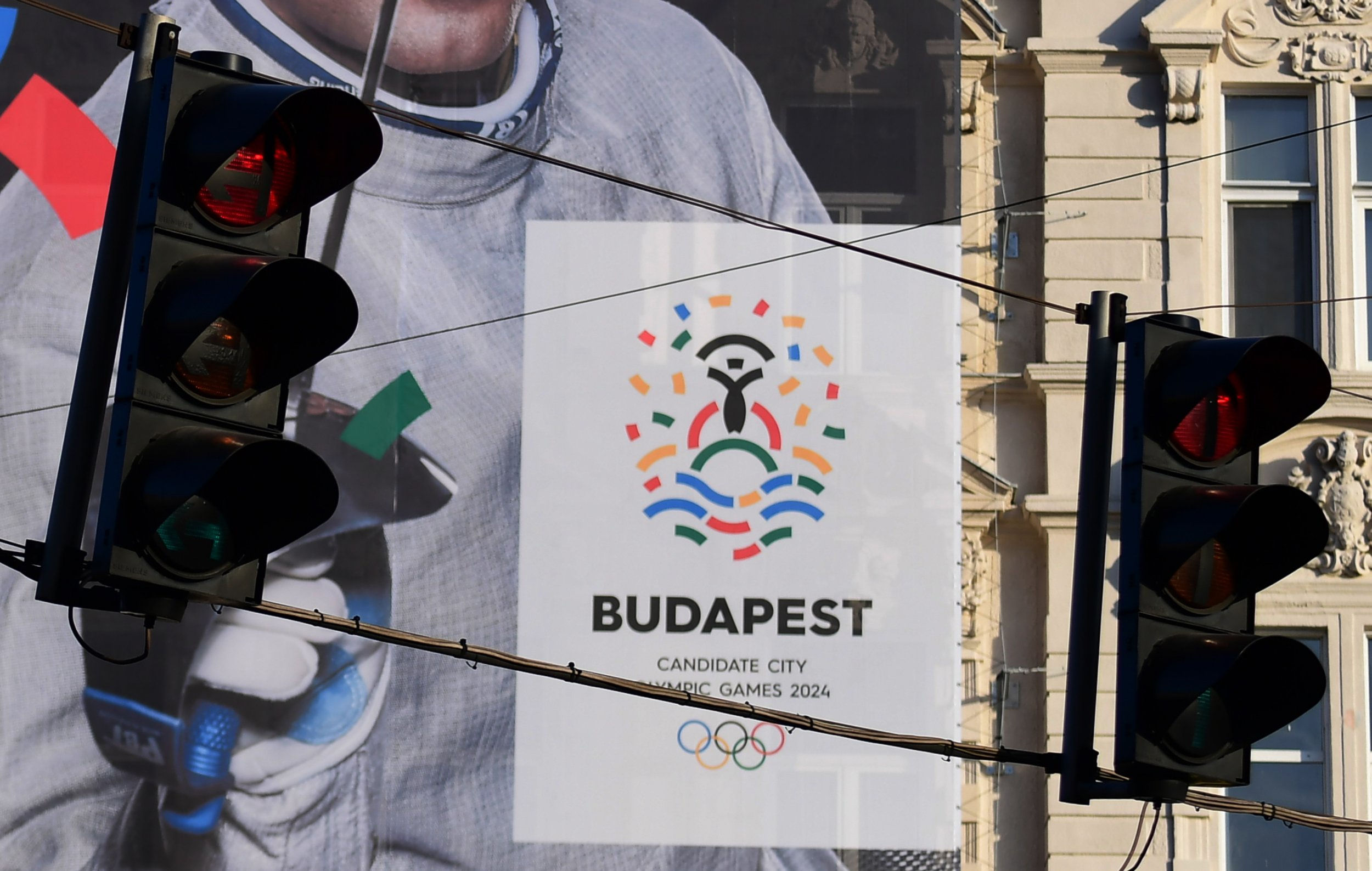 An advertisment for Budapest's bid to host the 2024 Olympic Games in Budapest, Hungary.