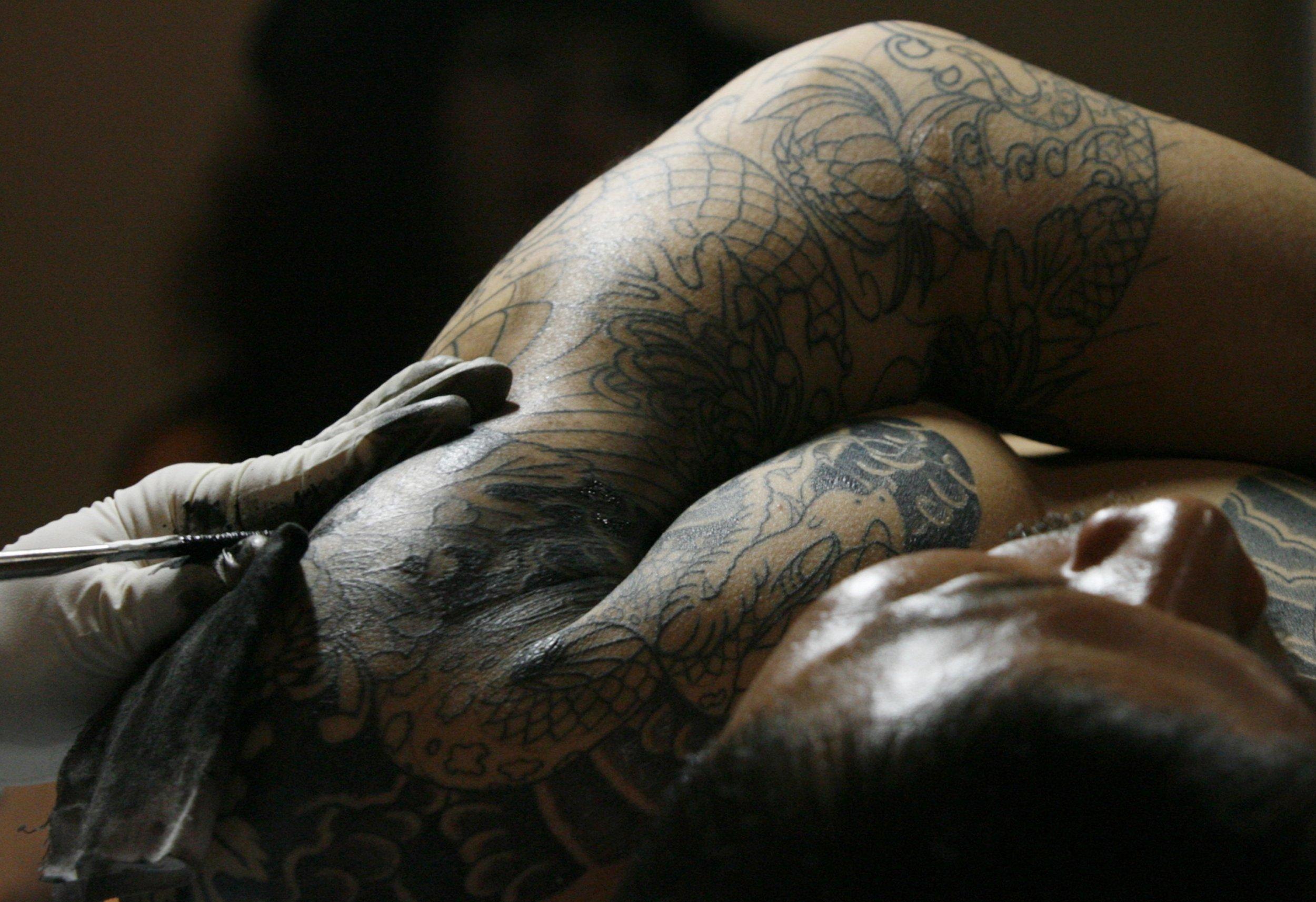 Man getting a tattoo