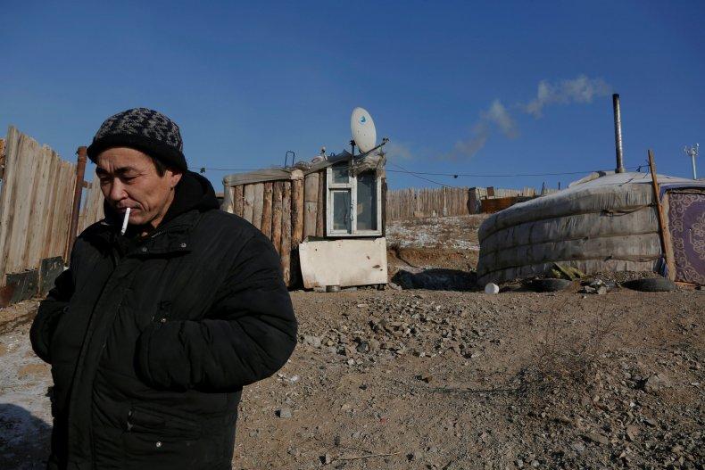 Man smoking cigarette in Ulaanbaatar