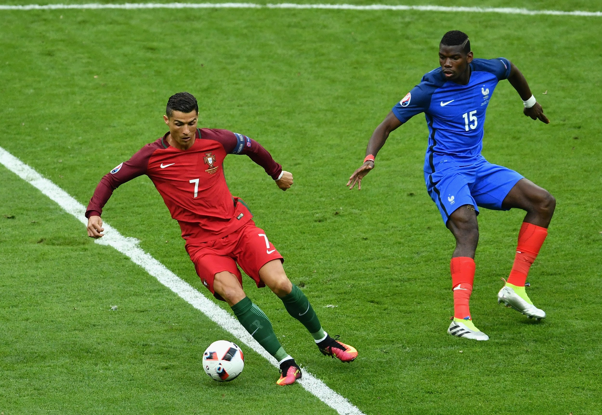 Cristiano Ronaldo, left, with Paul Pogba.