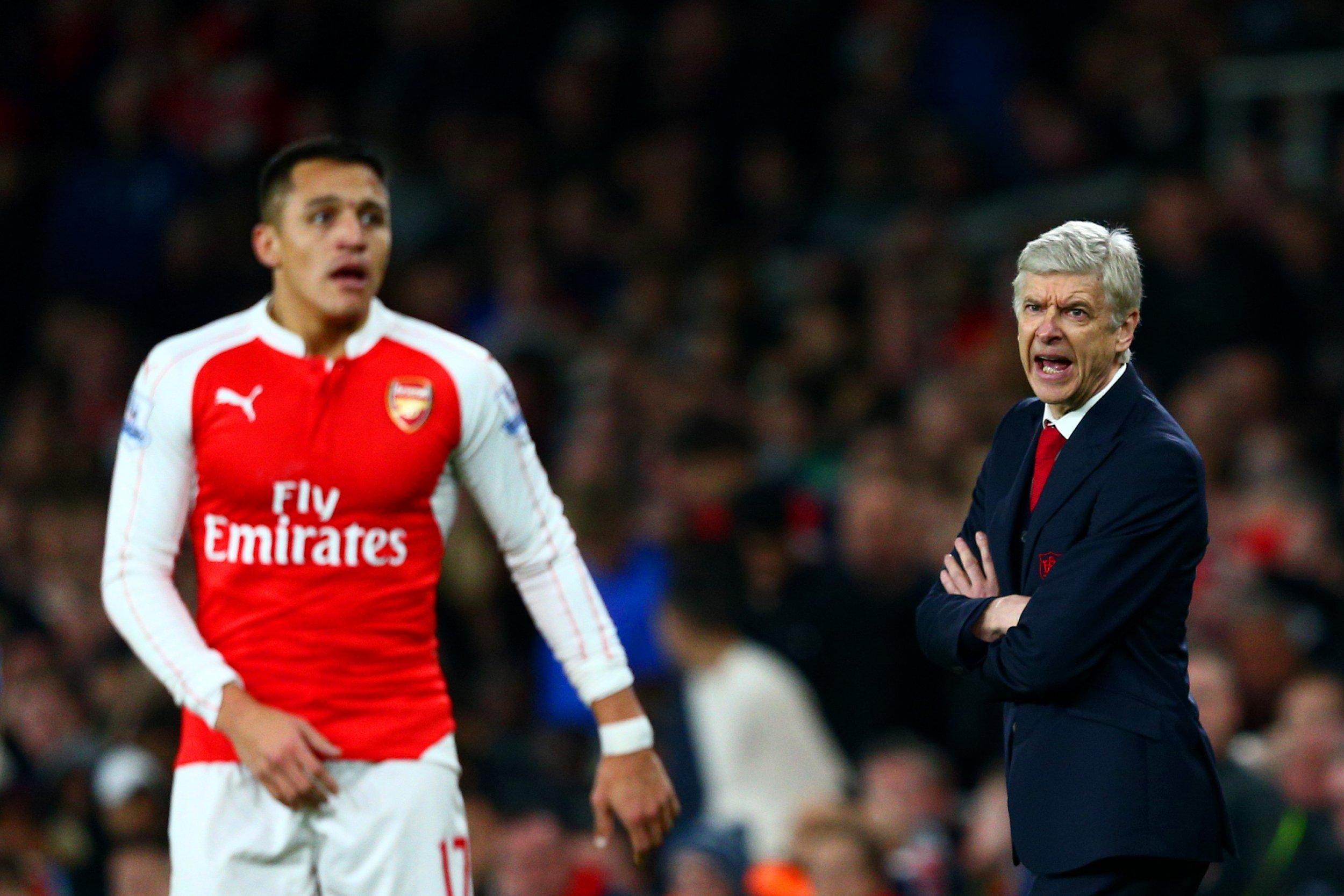 Alexis Sanchez, left, with Arsenal manager Arsene Wenger.