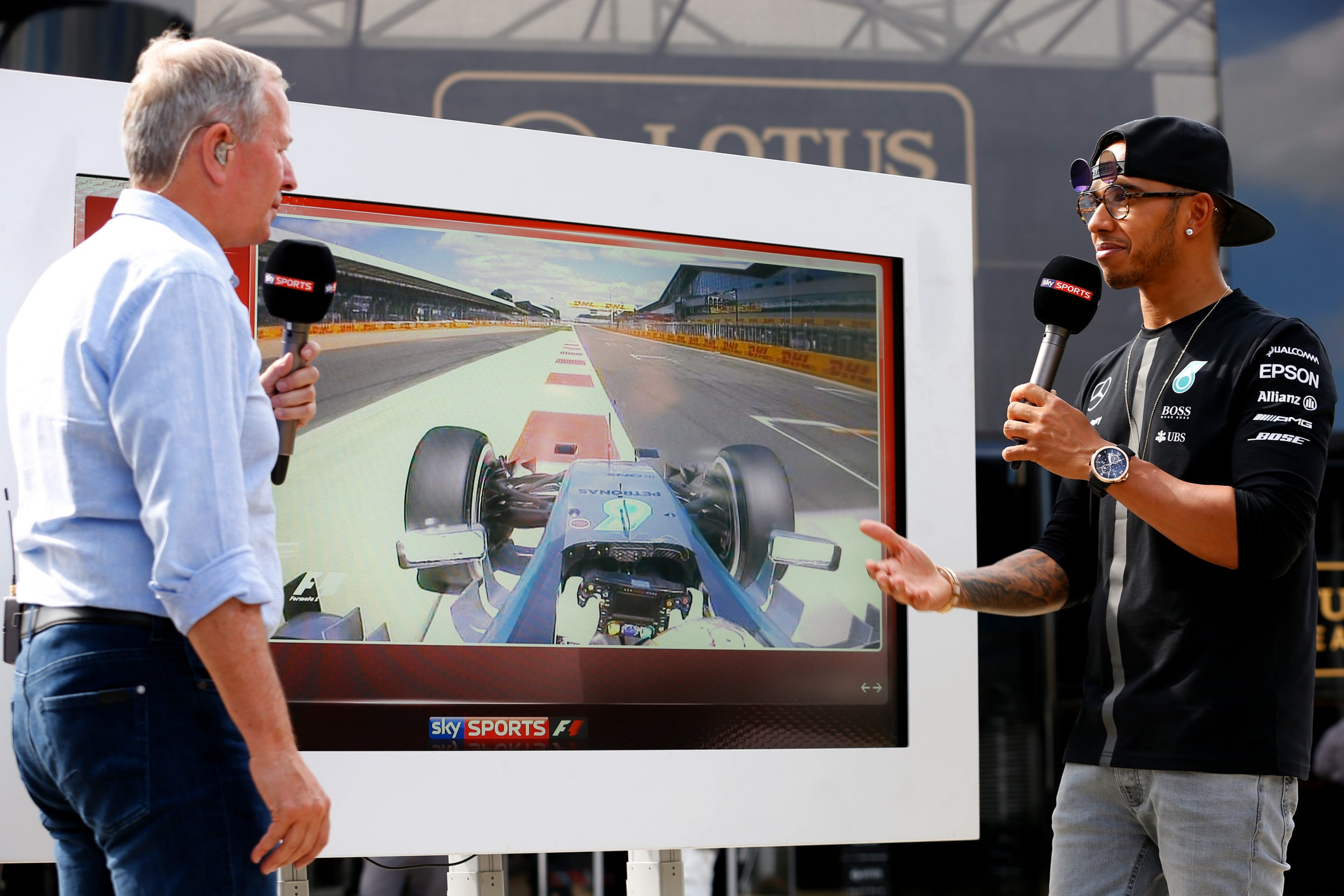 Lewis Hamilton with Martin Brundle