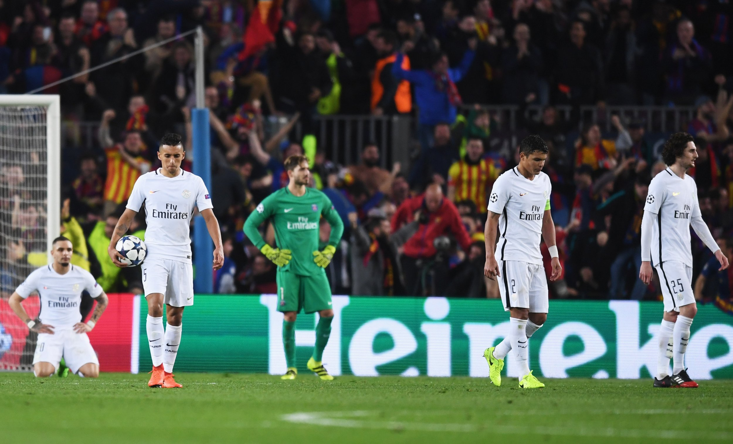 PSG players react to their Barcelona defeat at Camp Nou