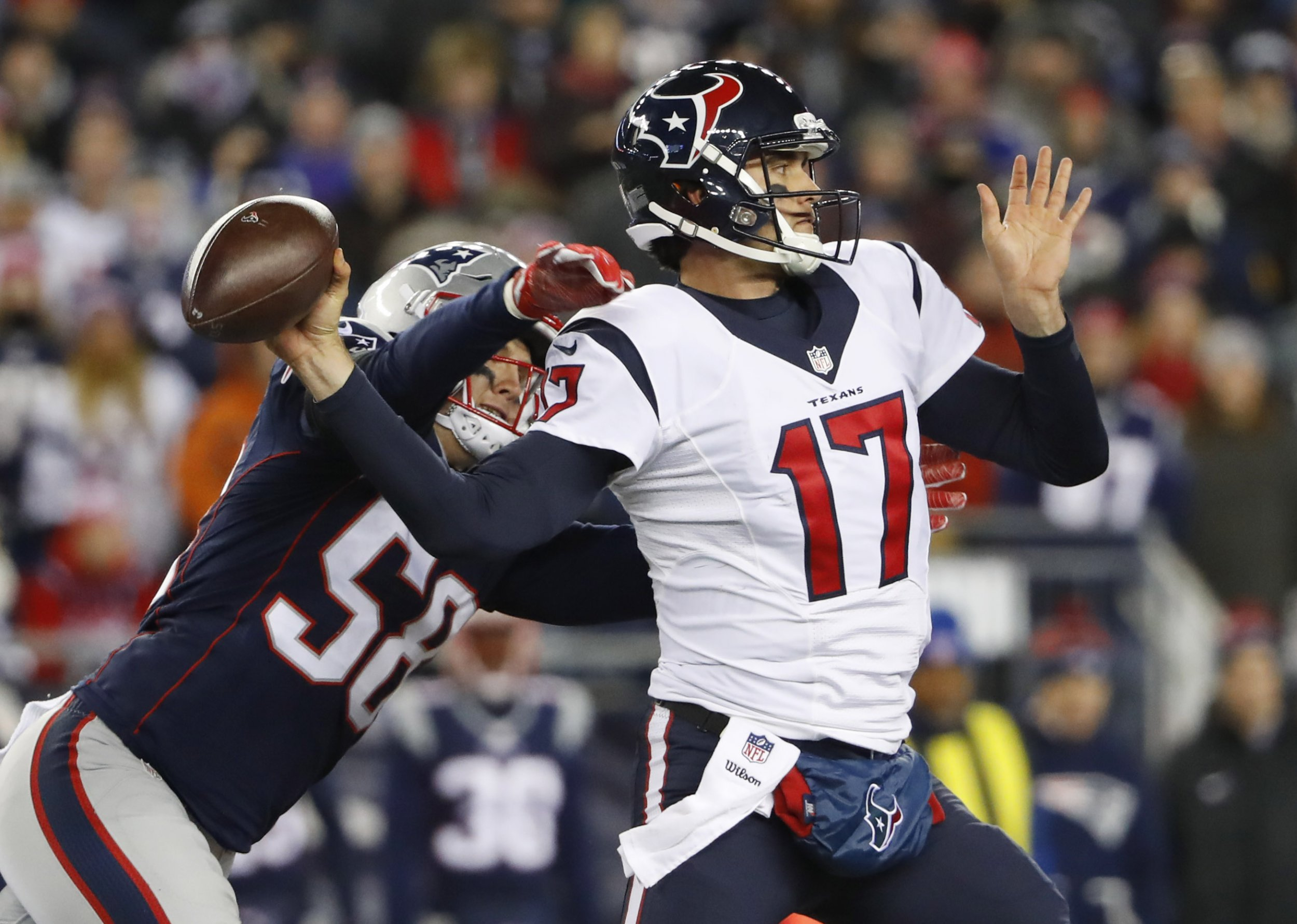 99ca16e5d Brock Ostweiler was intercepted three times in the Houston Texans'  divisional playoff loss to the New England Patriots. USA TODAY SPORTS