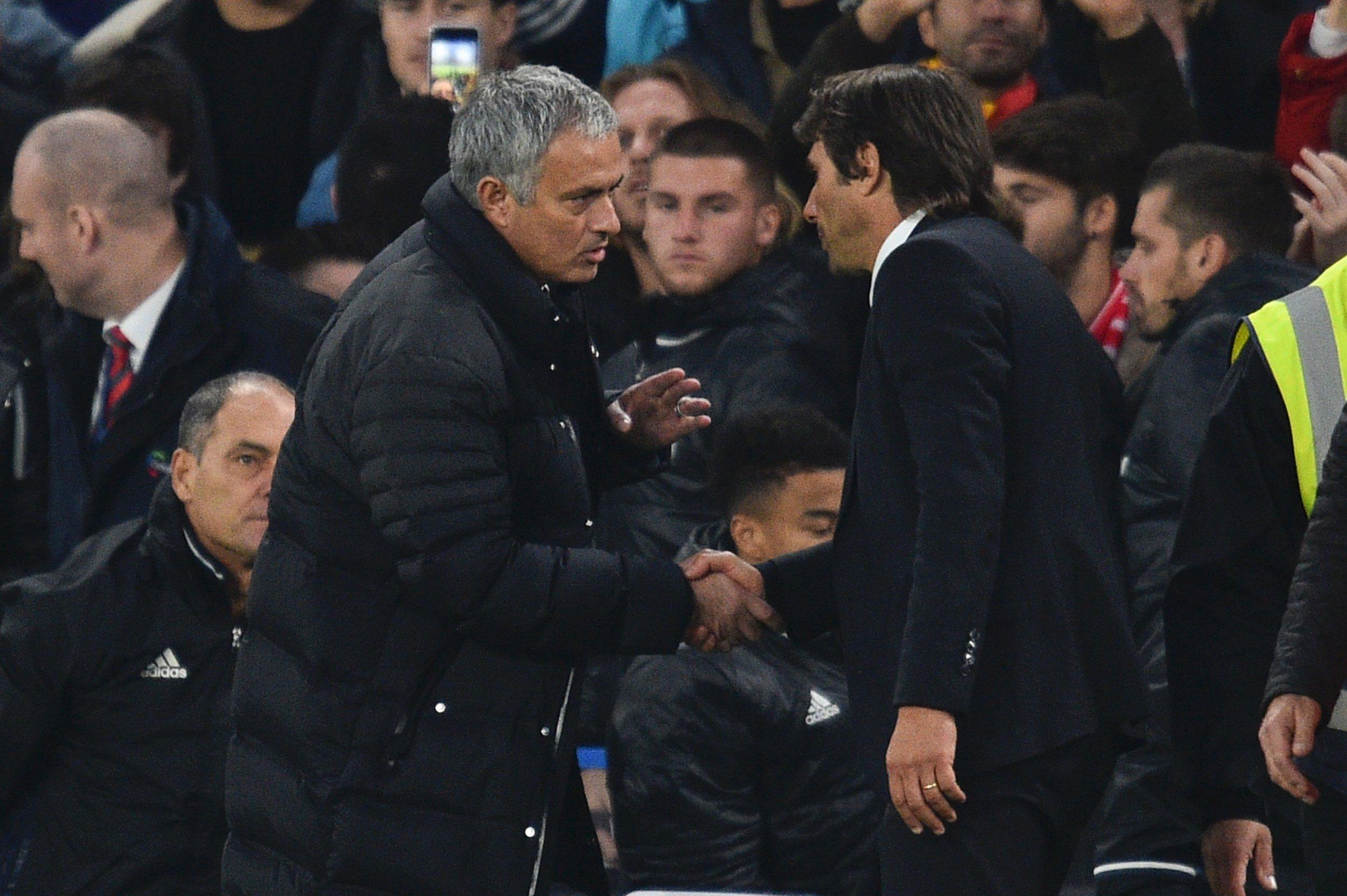 Jose Mourinho, left, with Antonio Conte.