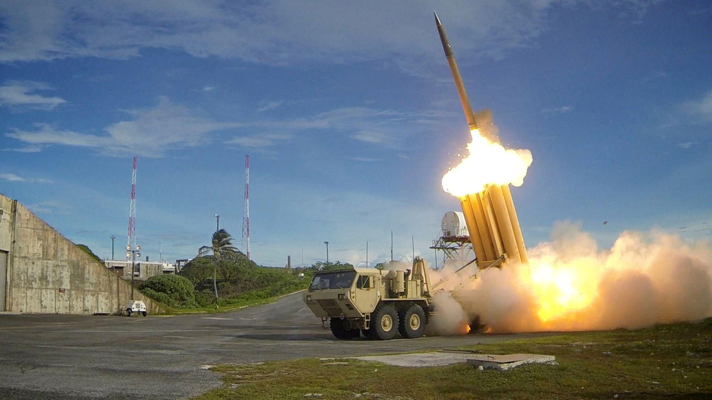 A Terminal High Altitude Area Defense interceptor