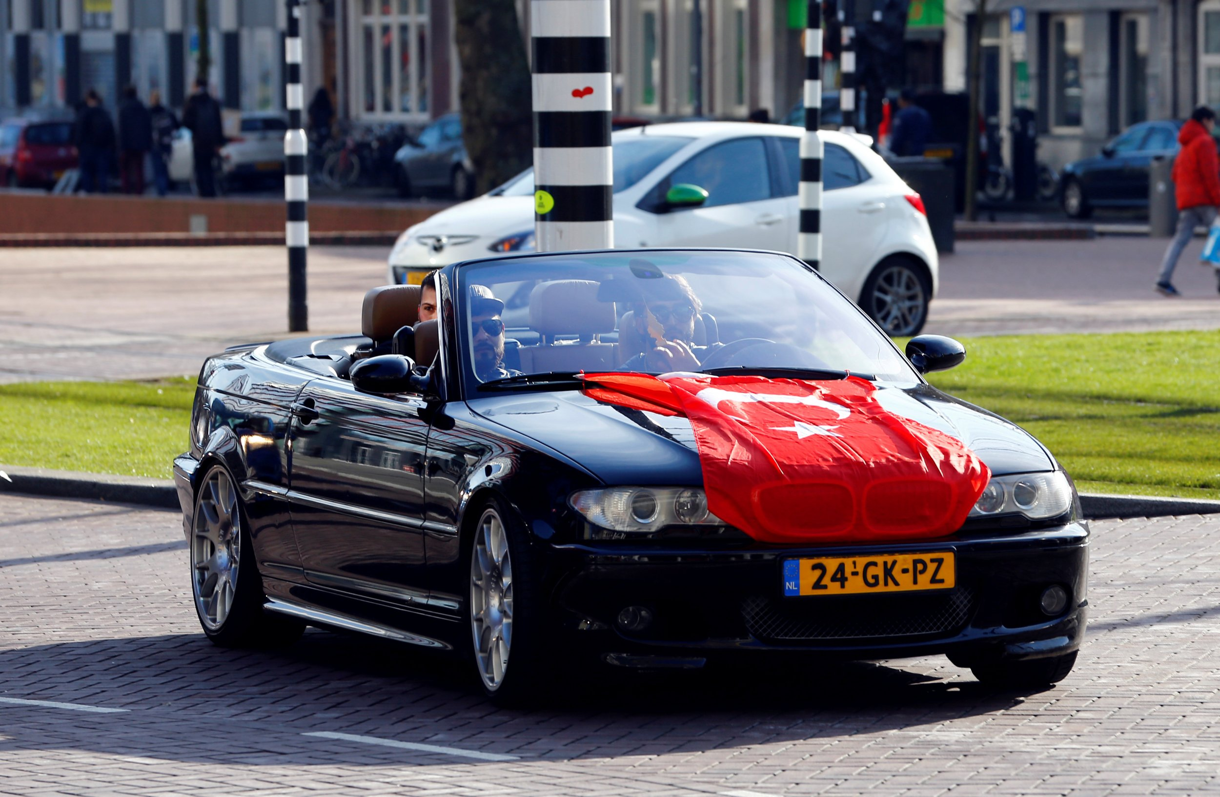 Turkey flag on car in Netherlands