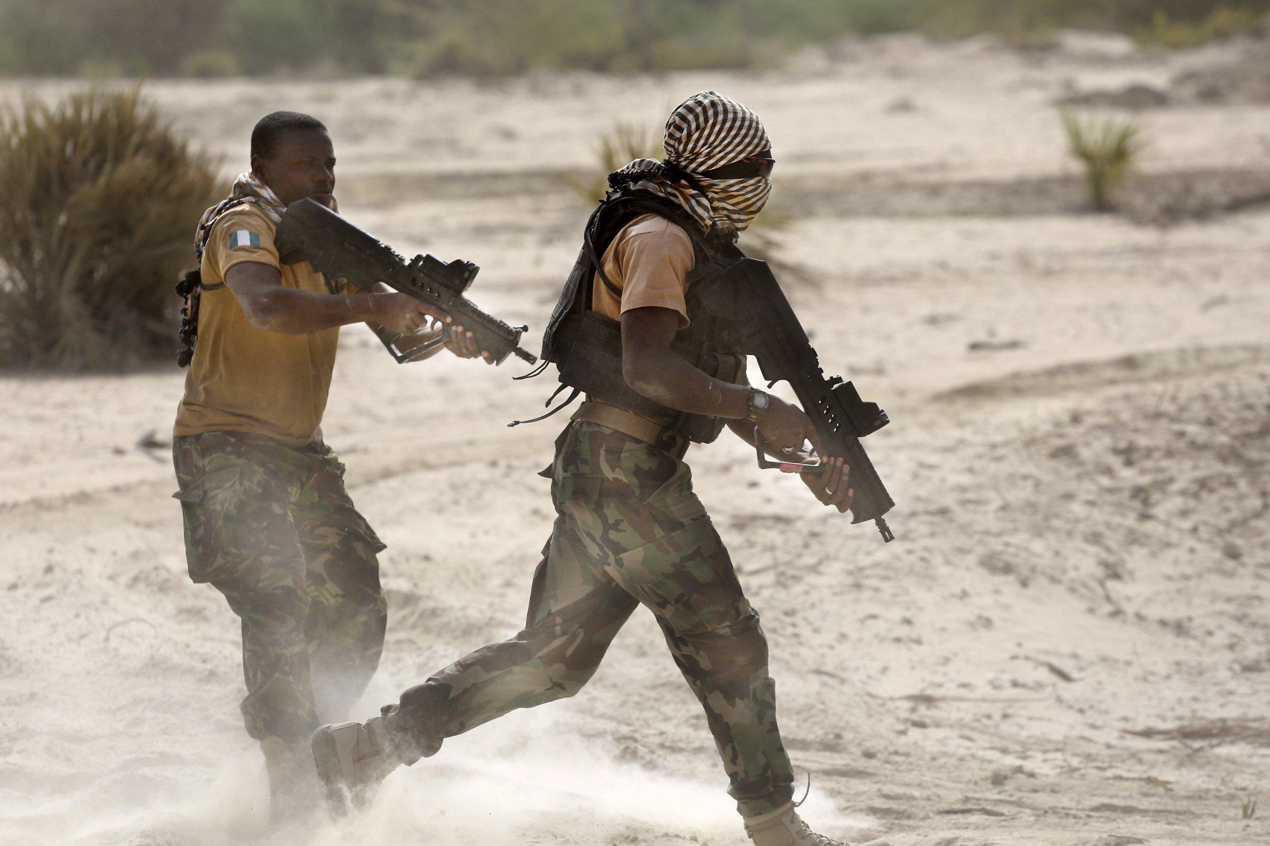 Nigerian soldiers training