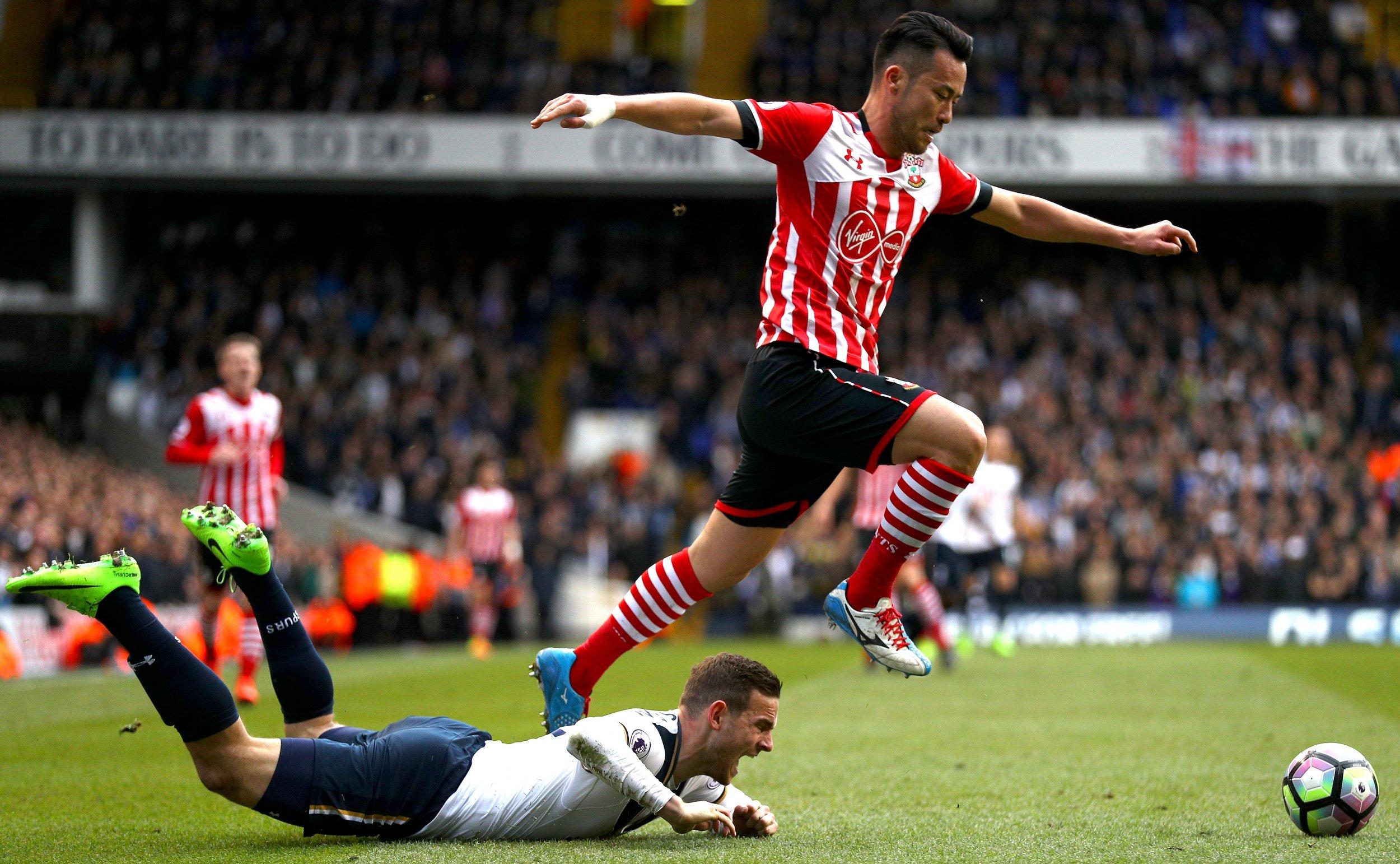 Tottenham Hotspur striker Vincent Janssen, bottom.