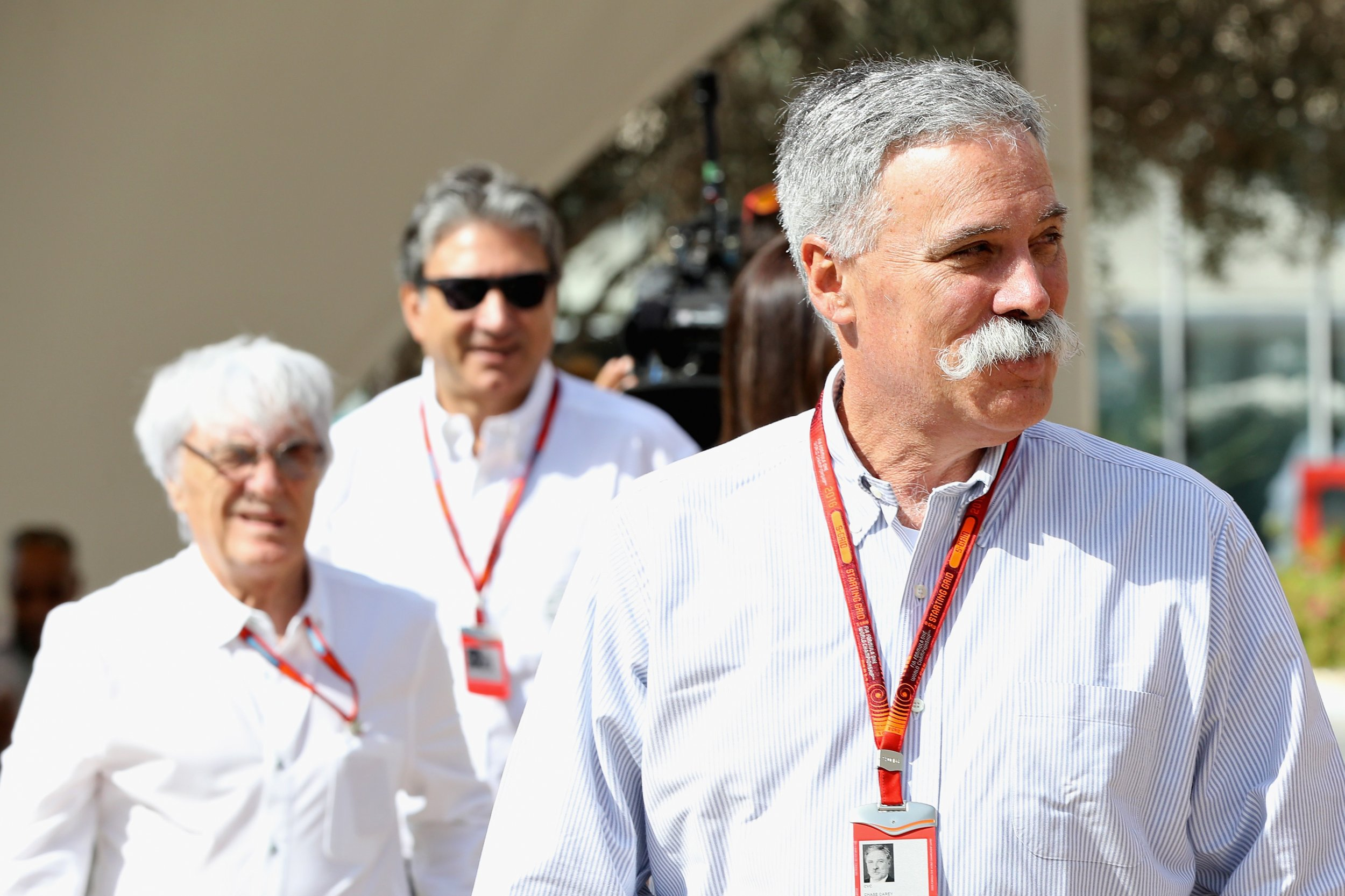 Formula One chief executive Chase Carey, right.