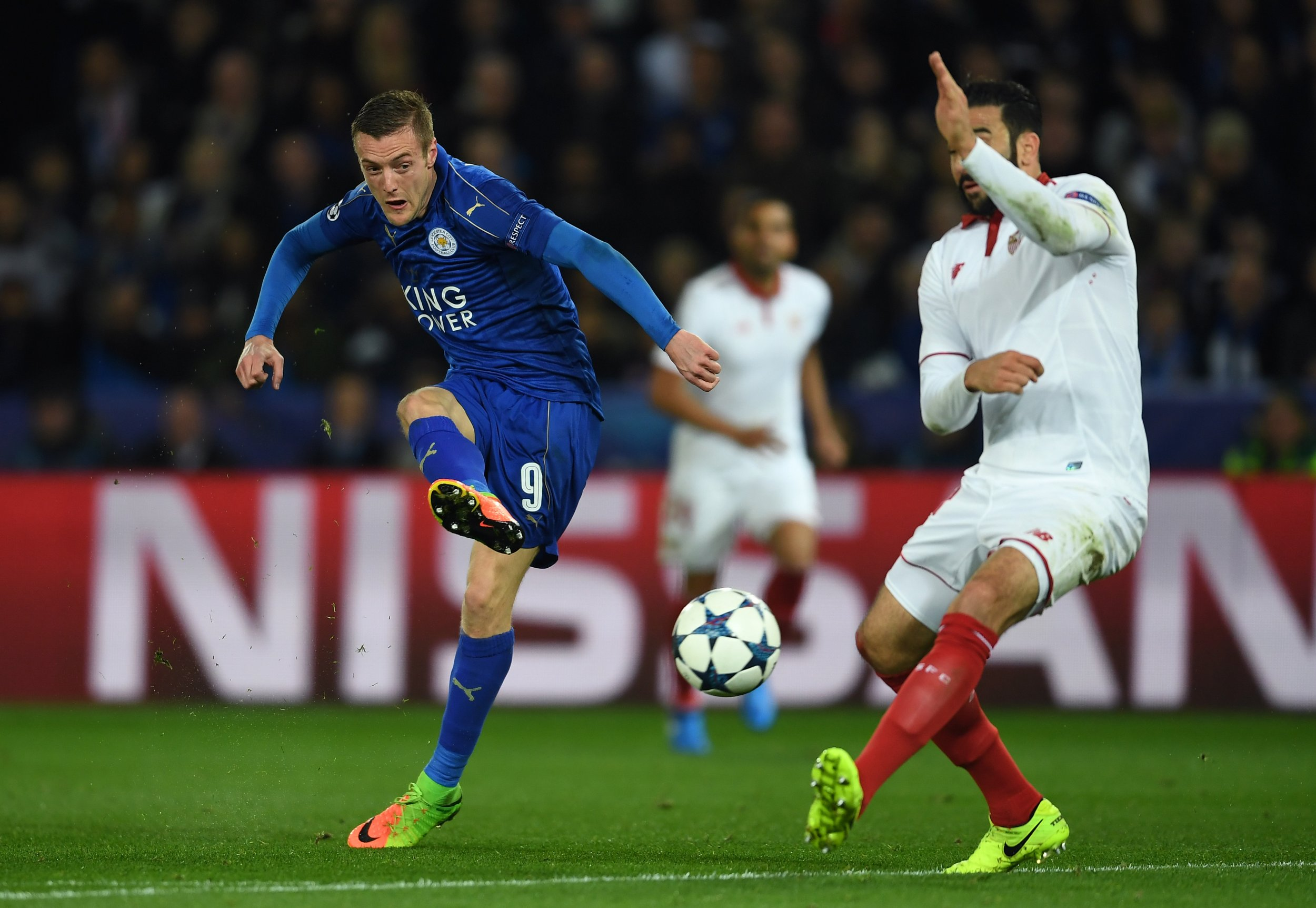 Leicester City striker Jamie Vardy at the King Power Stadium, Leicester, March 14.