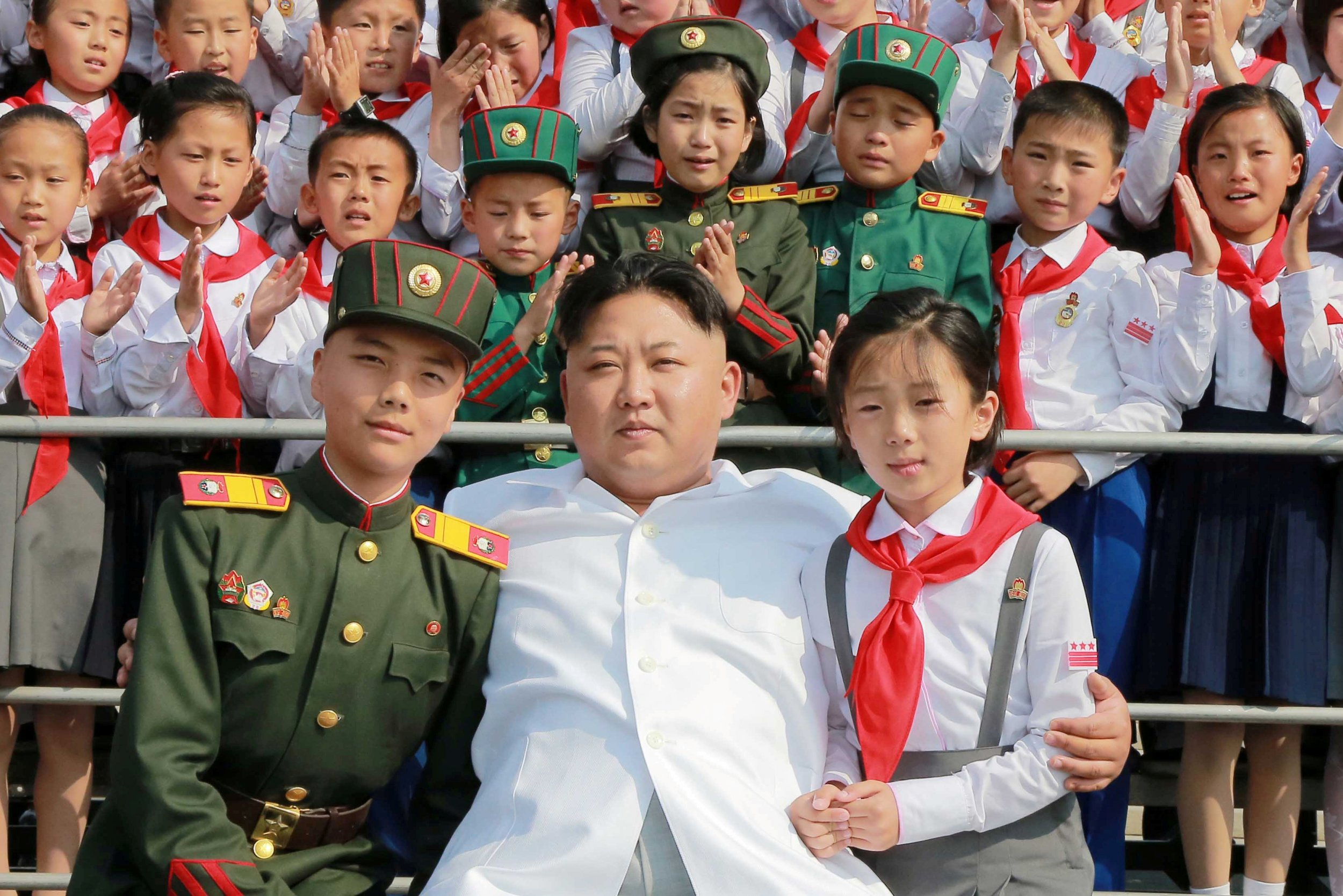 Kim Jong Un with children