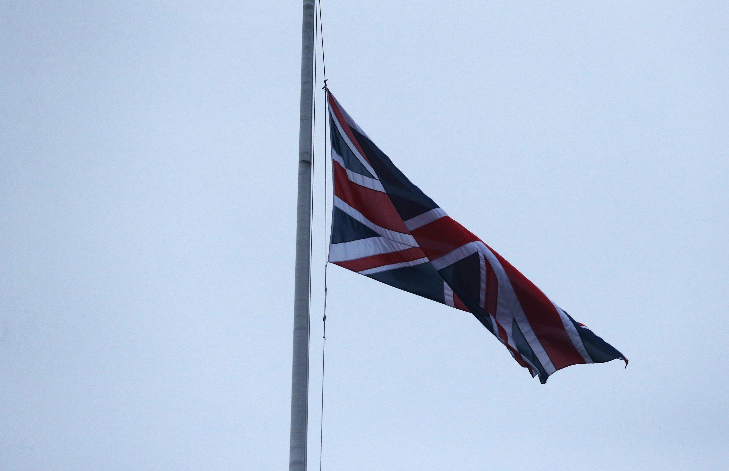 UK flag half mast