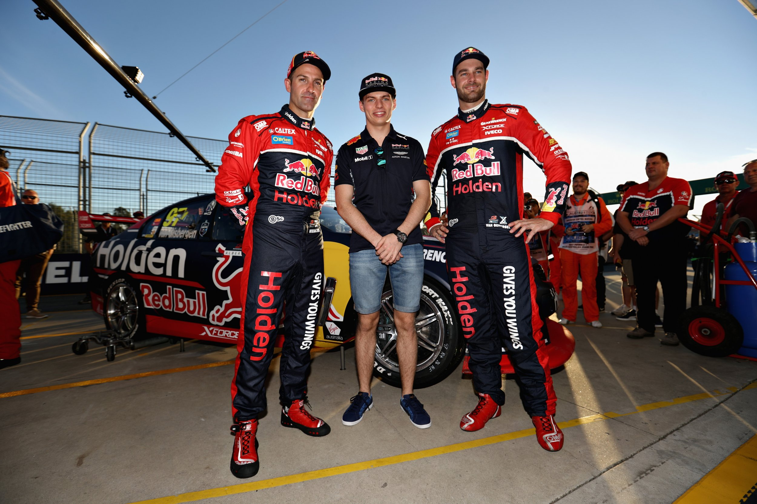 Red Bull Formula One driver Max Verstappen, center.