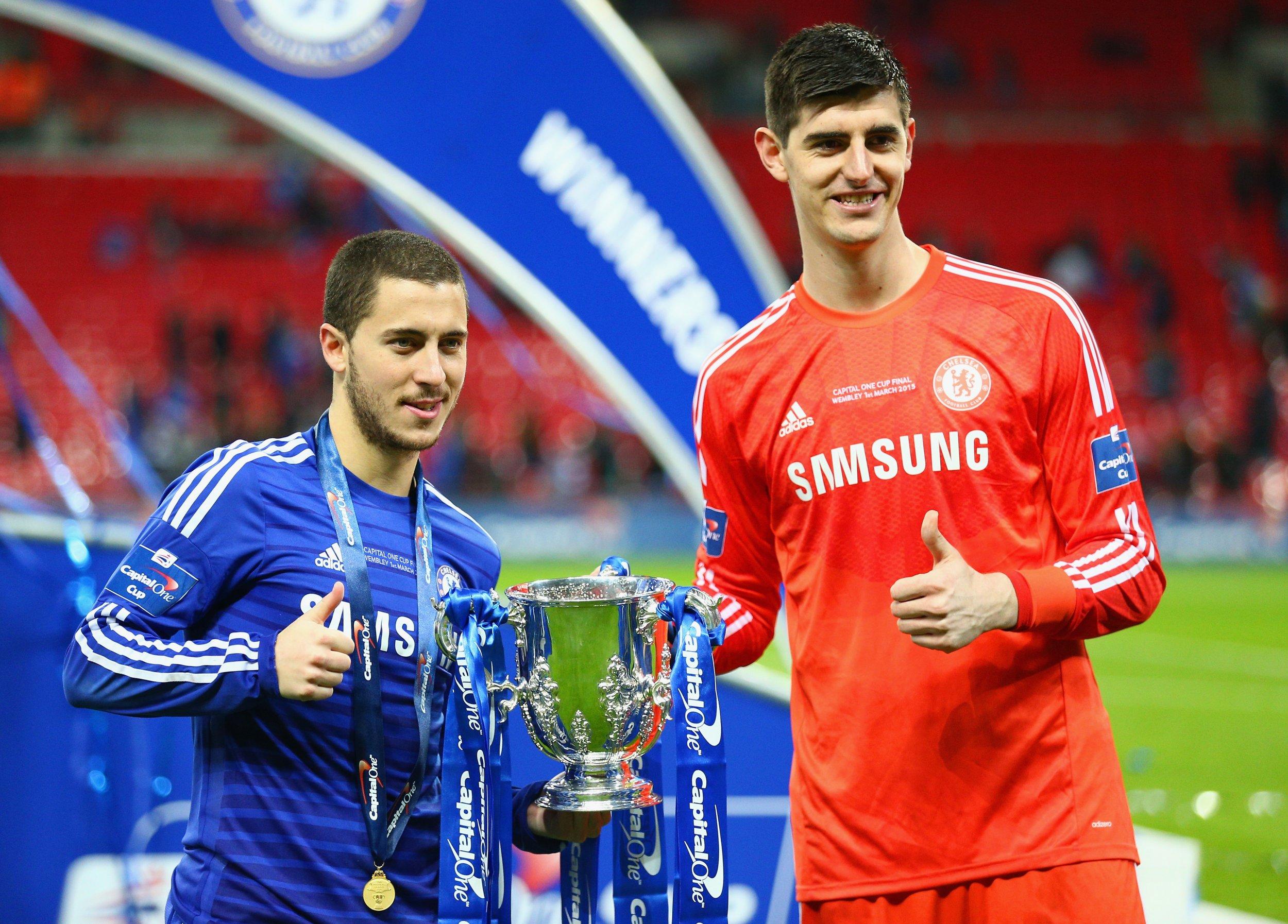 Chelsea stars Eden Hazard, left, and Thibaut Courtois.