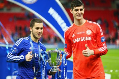 Chelsea stars Eden Hazard, left, and Thibaut Courtois.