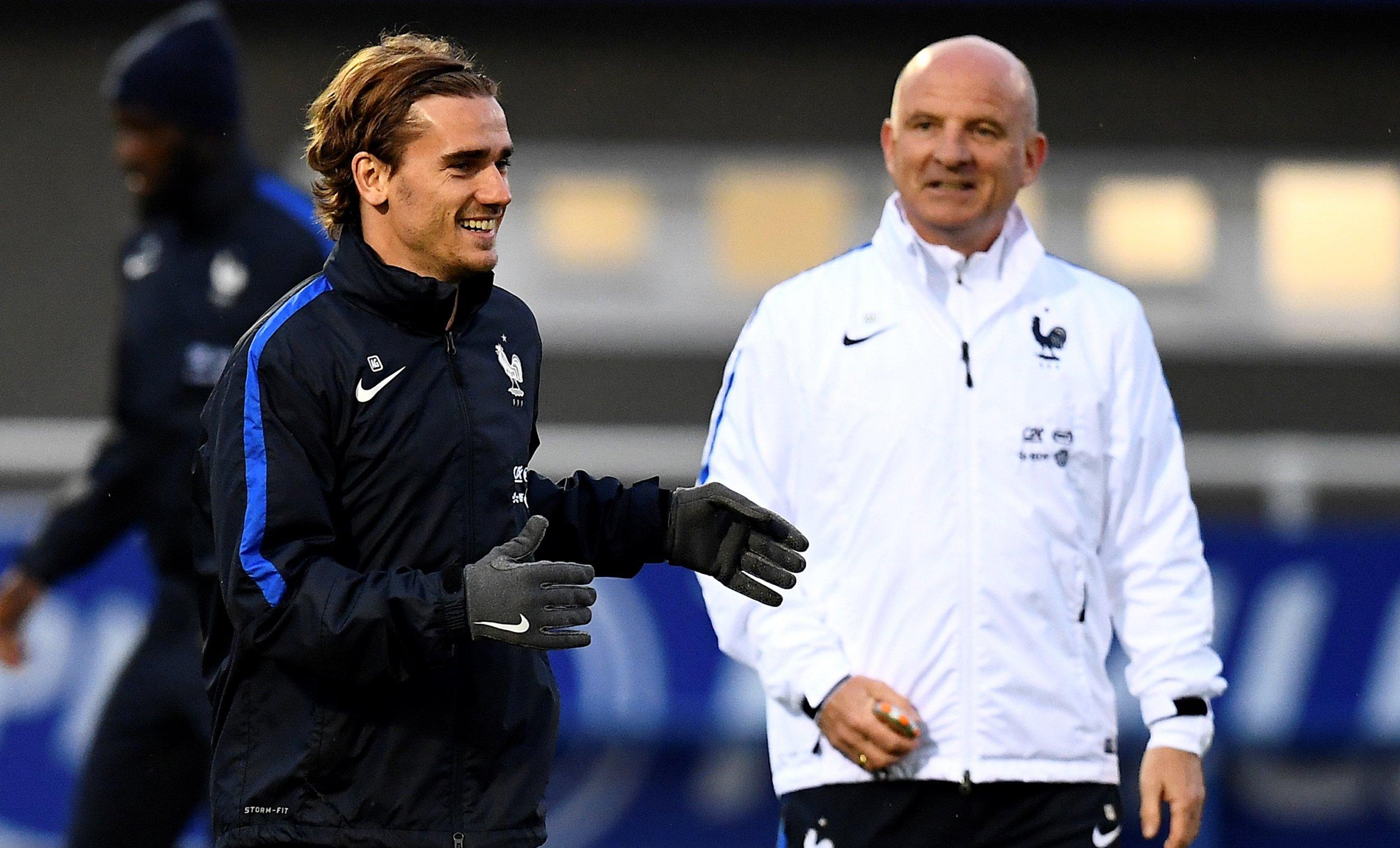 Atletico Madrid and France striker Antoine Griezmann, left.