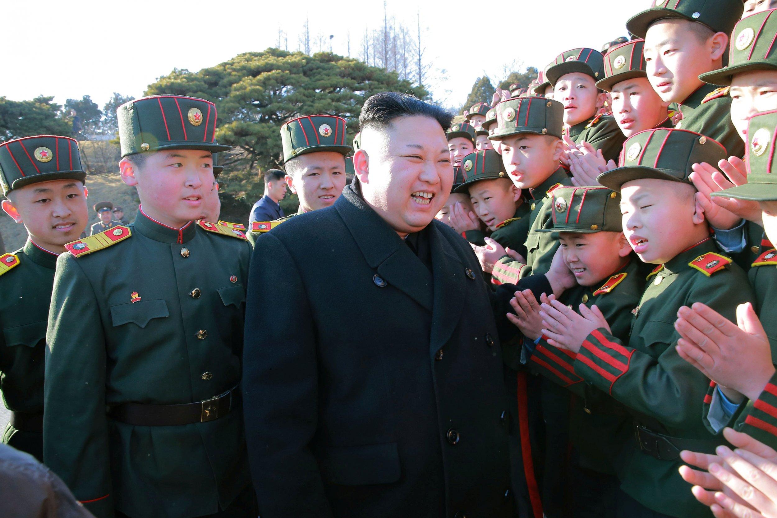 Kim Jong Un with kids