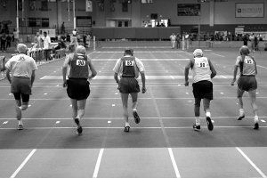 55 meter sprinters, 85 and over age bracket. 2008 USA Master's Indoor Track & Field Championship in Boston, Massachusetts. March, 2008.,x-default