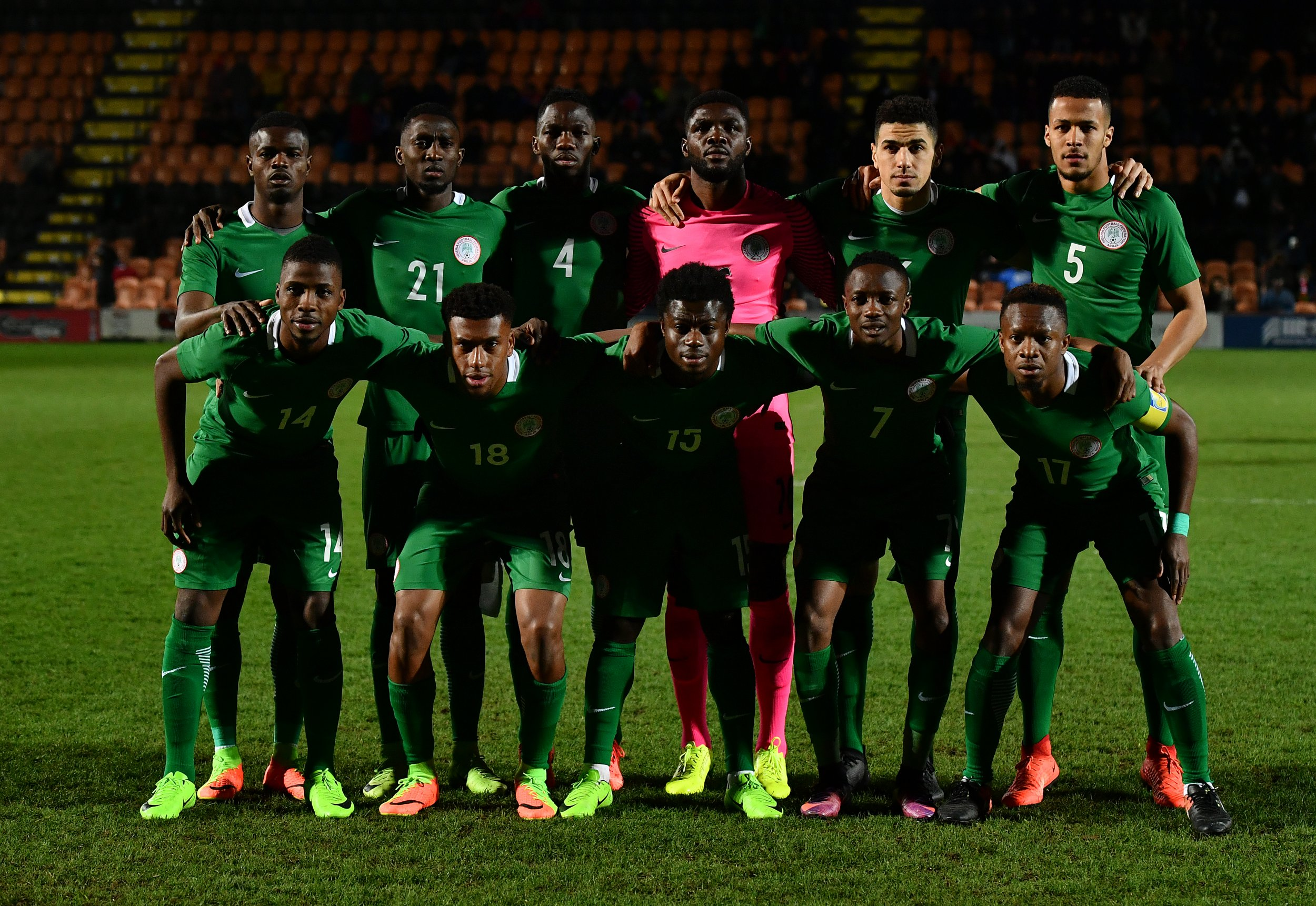 The Nigeria team poses for a group photo at The Hive, Barnet, March 23.