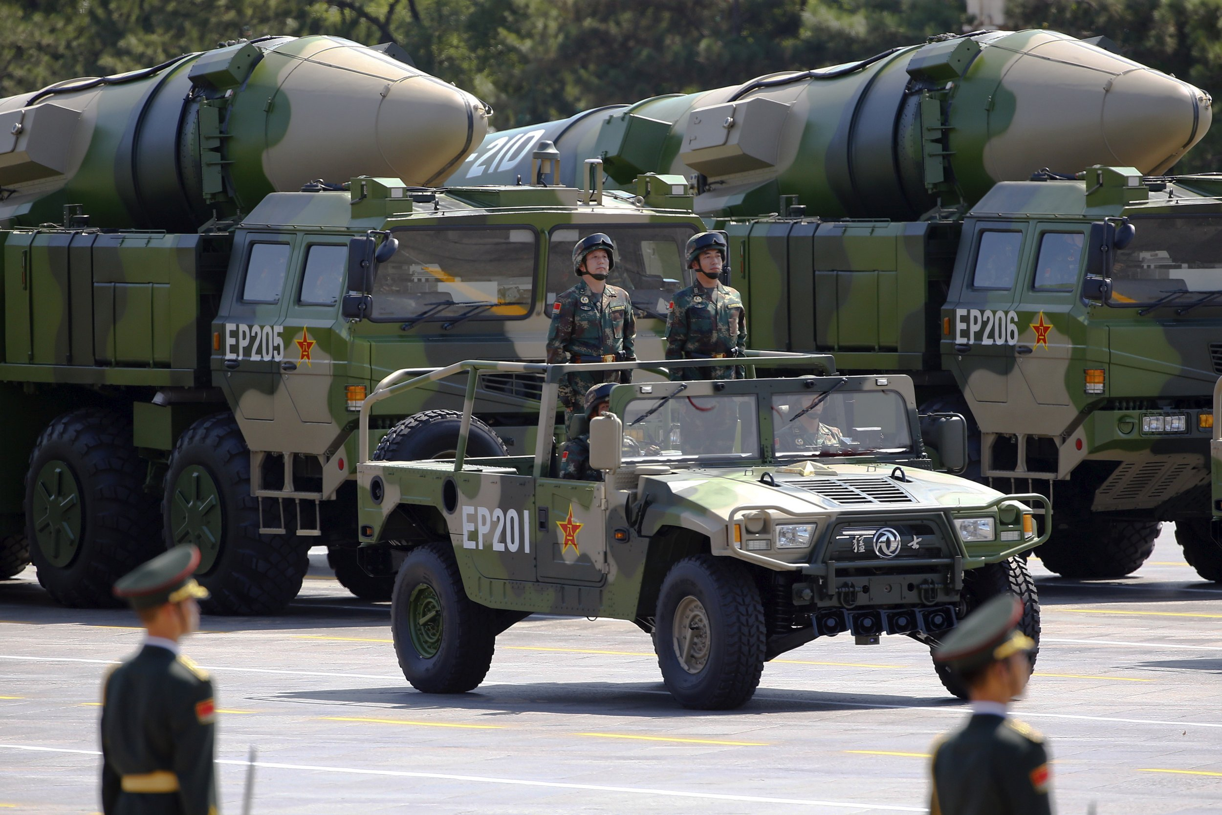Military vehicles carrying DF-21D missiles in China
