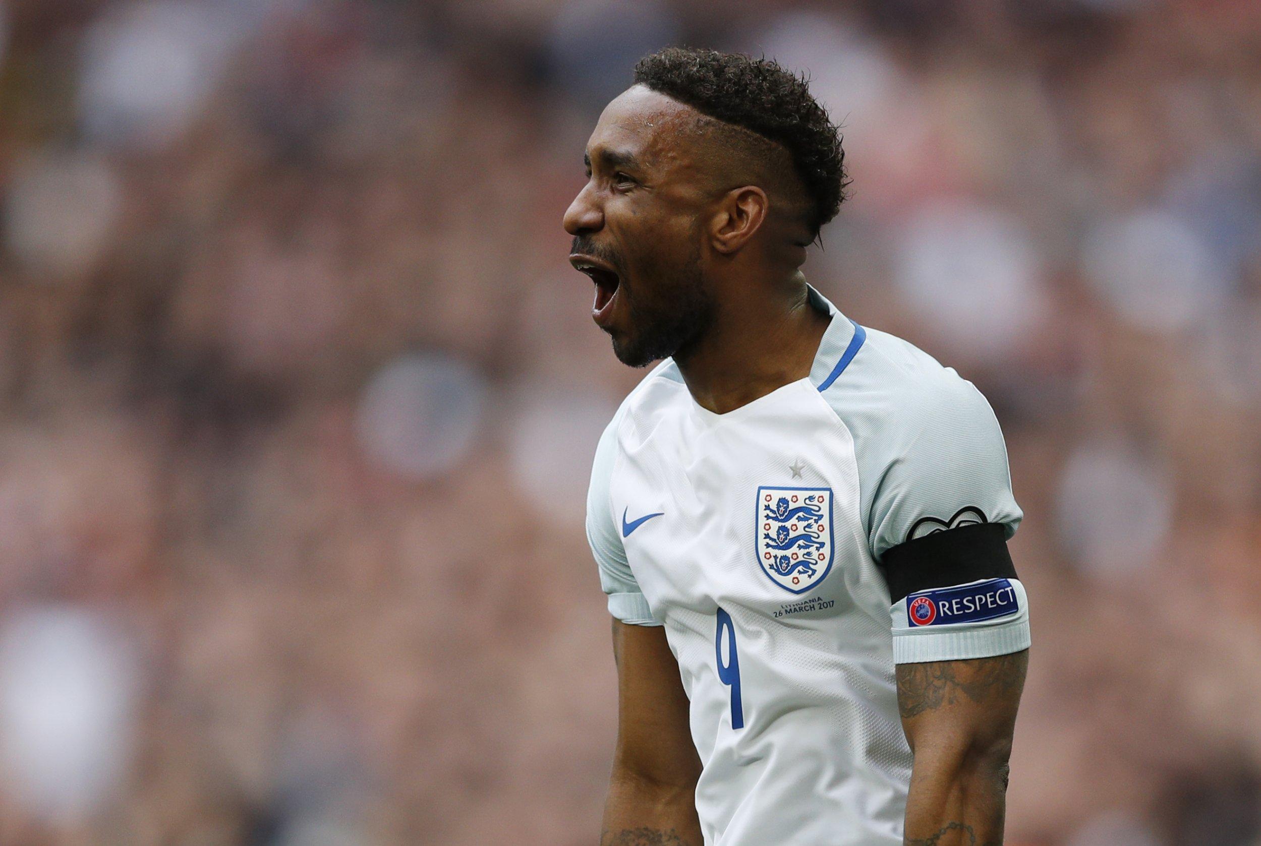 England striker Jermain Defoe at Wembley Stadium, north London.
