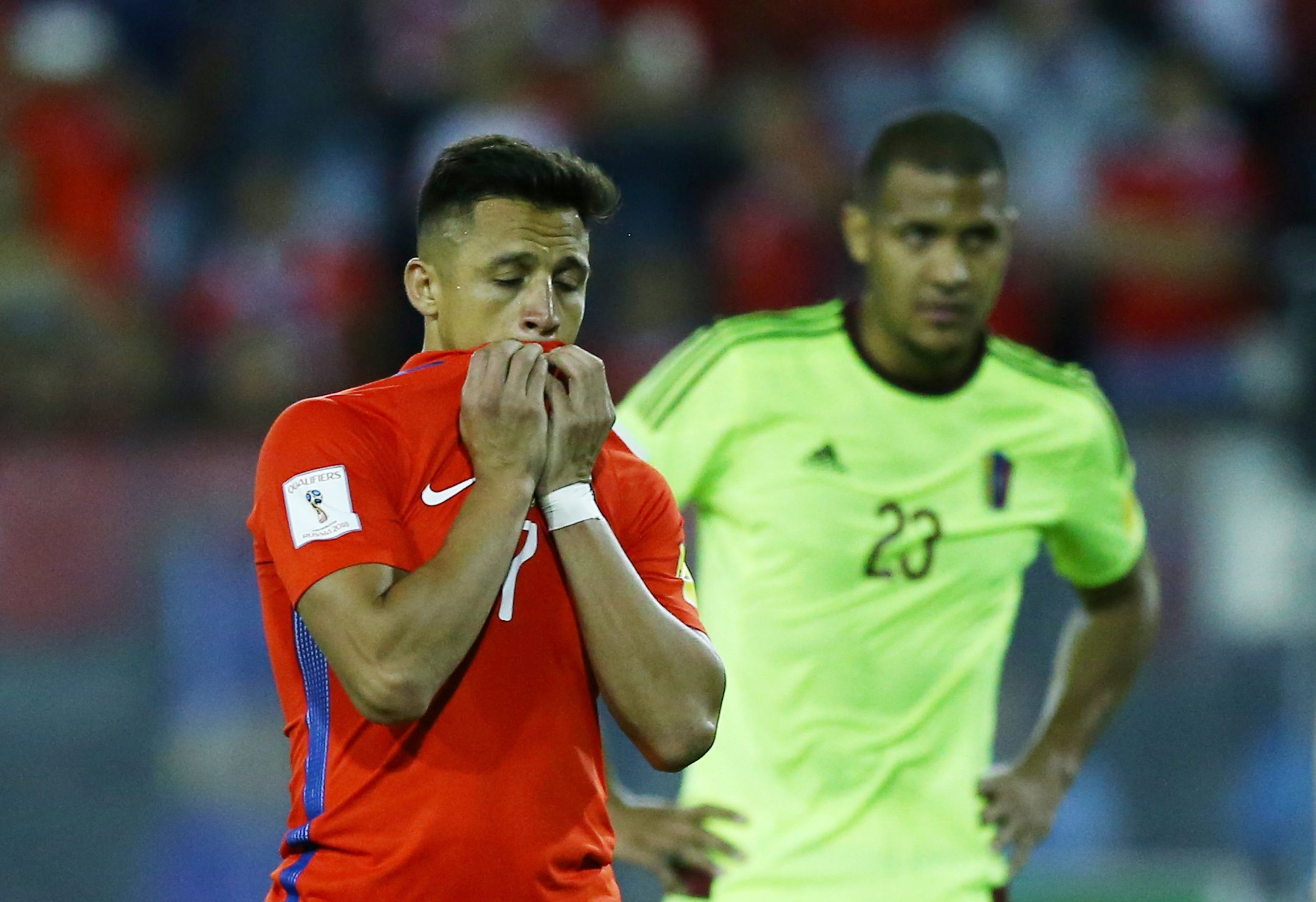 Chile and Arsenal's Alexis Sanchez, left, at Monumental Stadium, Santiago, Chile, March 28.