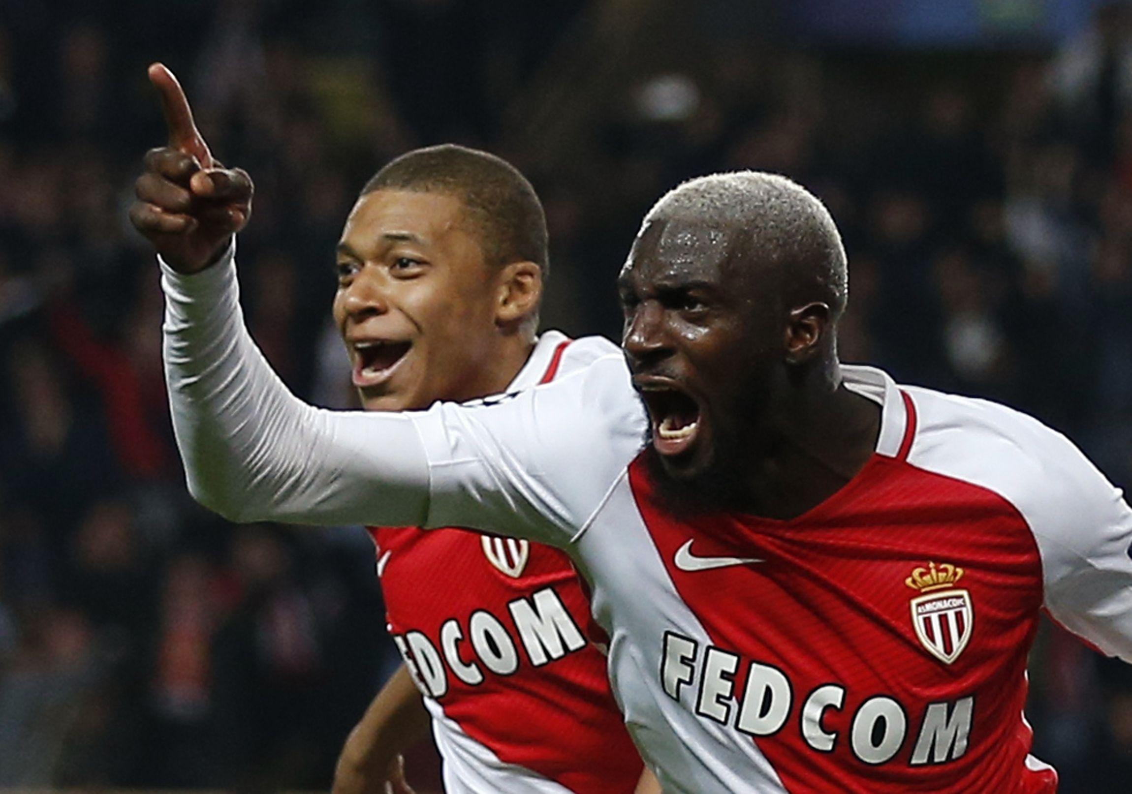 AS Monaco midfielder Tiemoue Bakayoko, front right.